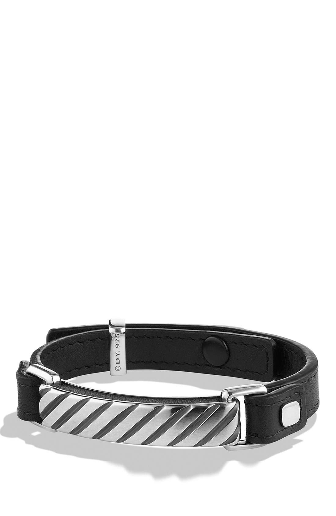 Modern Cable ID Bracelet,                         Main,                         color, BLACK