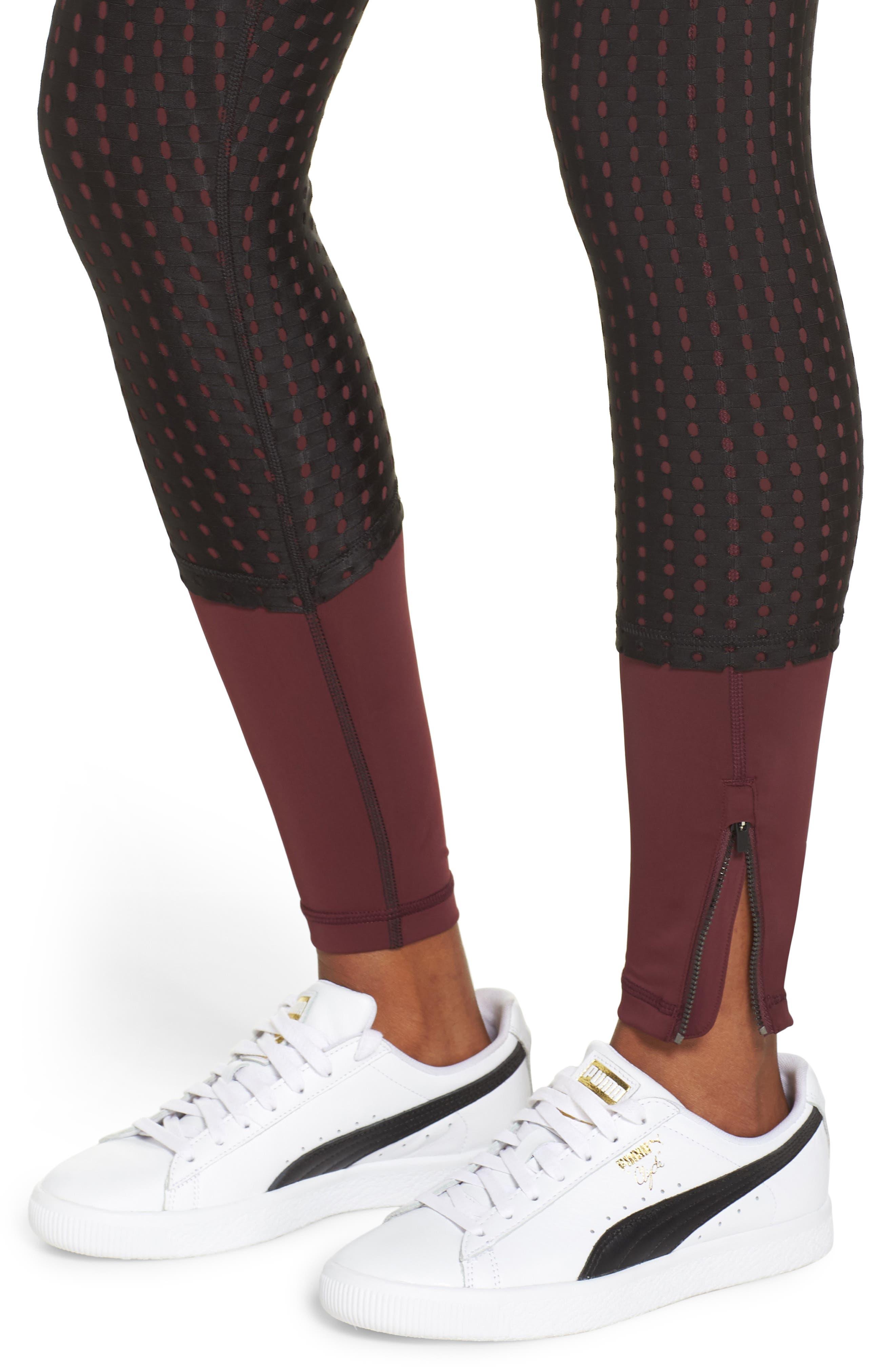 Luxe Mesh Leggings,                             Alternate thumbnail 4, color,                             FIG/ PUMA BLACK