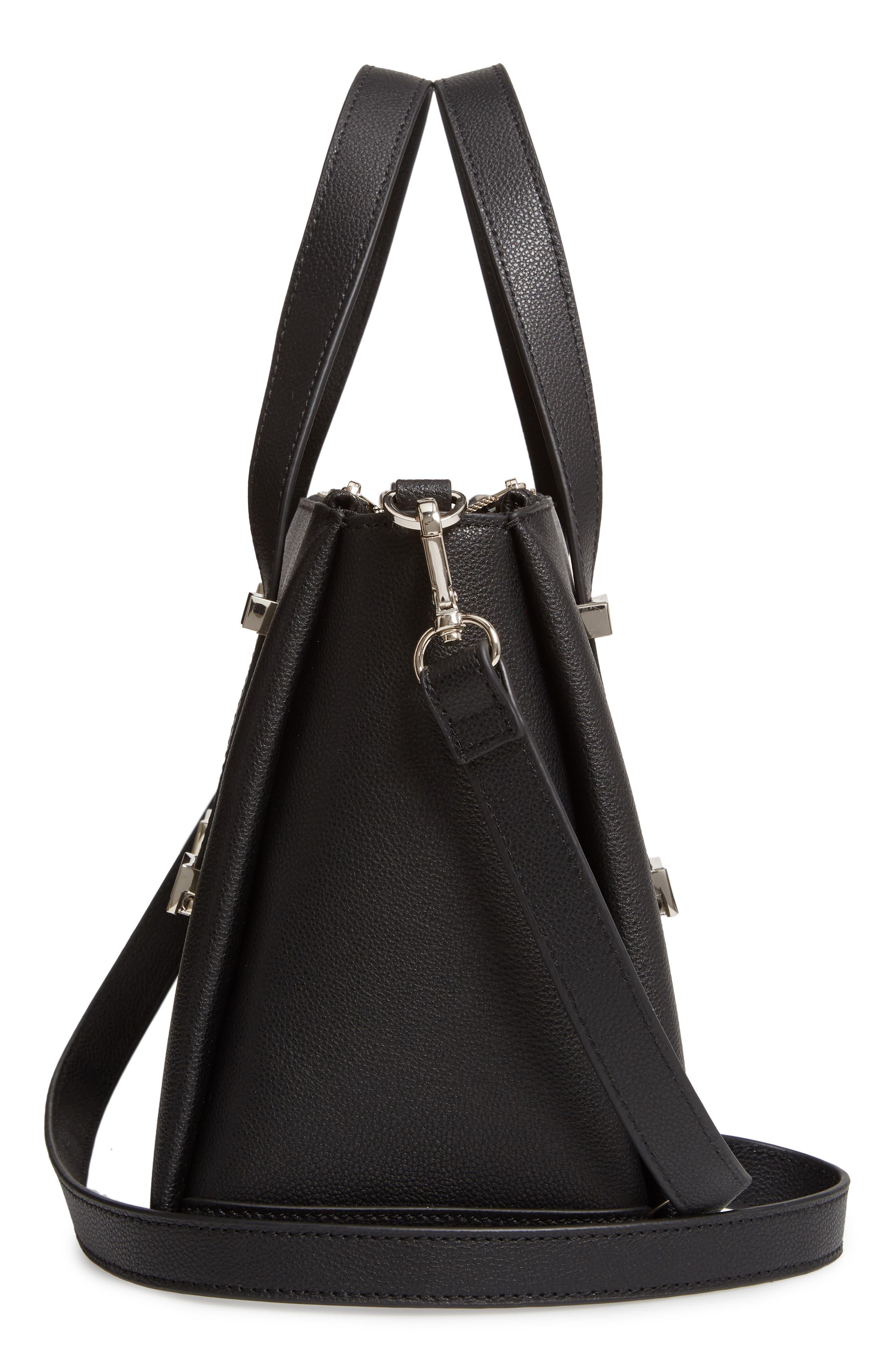 Julieet Large Adjustable Handle Leather Satchel,                             Alternate thumbnail 5, color,                             BLACK