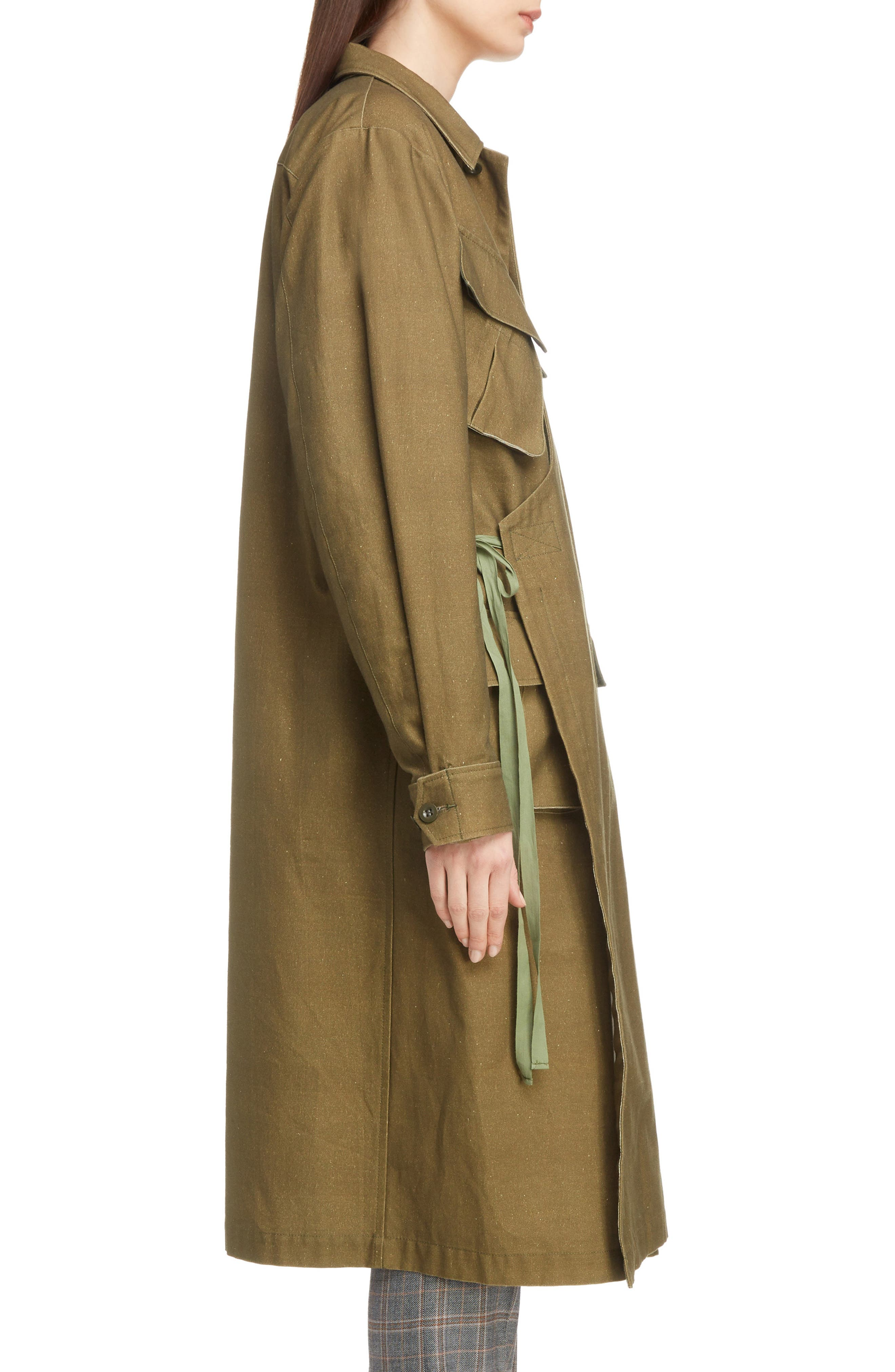 Gabardine Coat,                             Alternate thumbnail 3, color,                             09/ KHAKI