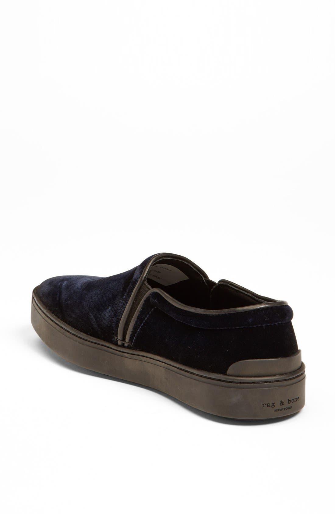 RAG & BONE,                             'Kent' Italian Velvet Slip-On Sneaker,                             Alternate thumbnail 2, color,                             410