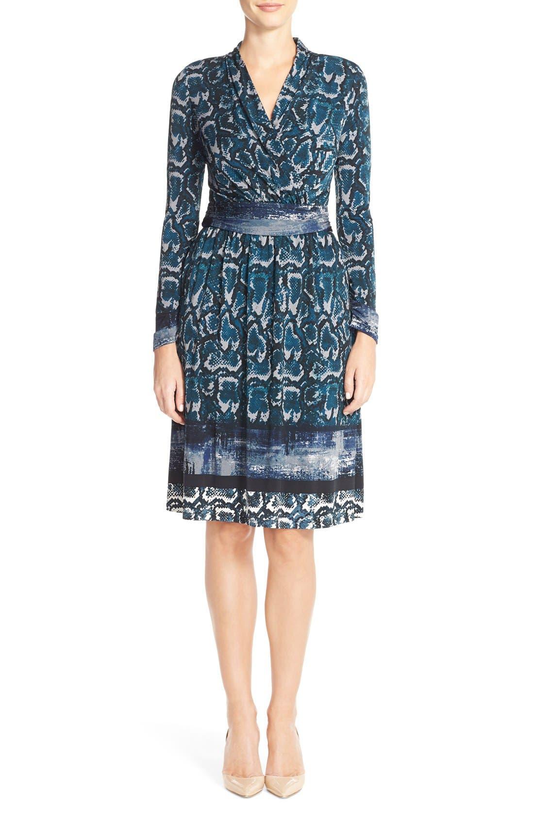 Print Jersey Faux Wrap Dress,                             Alternate thumbnail 6, color,                             423