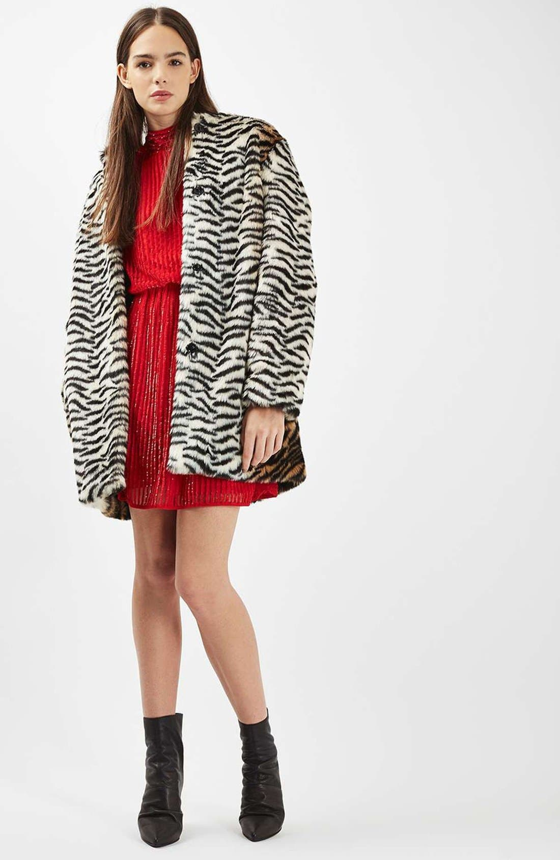 TOPSHOP,                             Tiger Faux Fur Coat,                             Alternate thumbnail 5, color,                             200