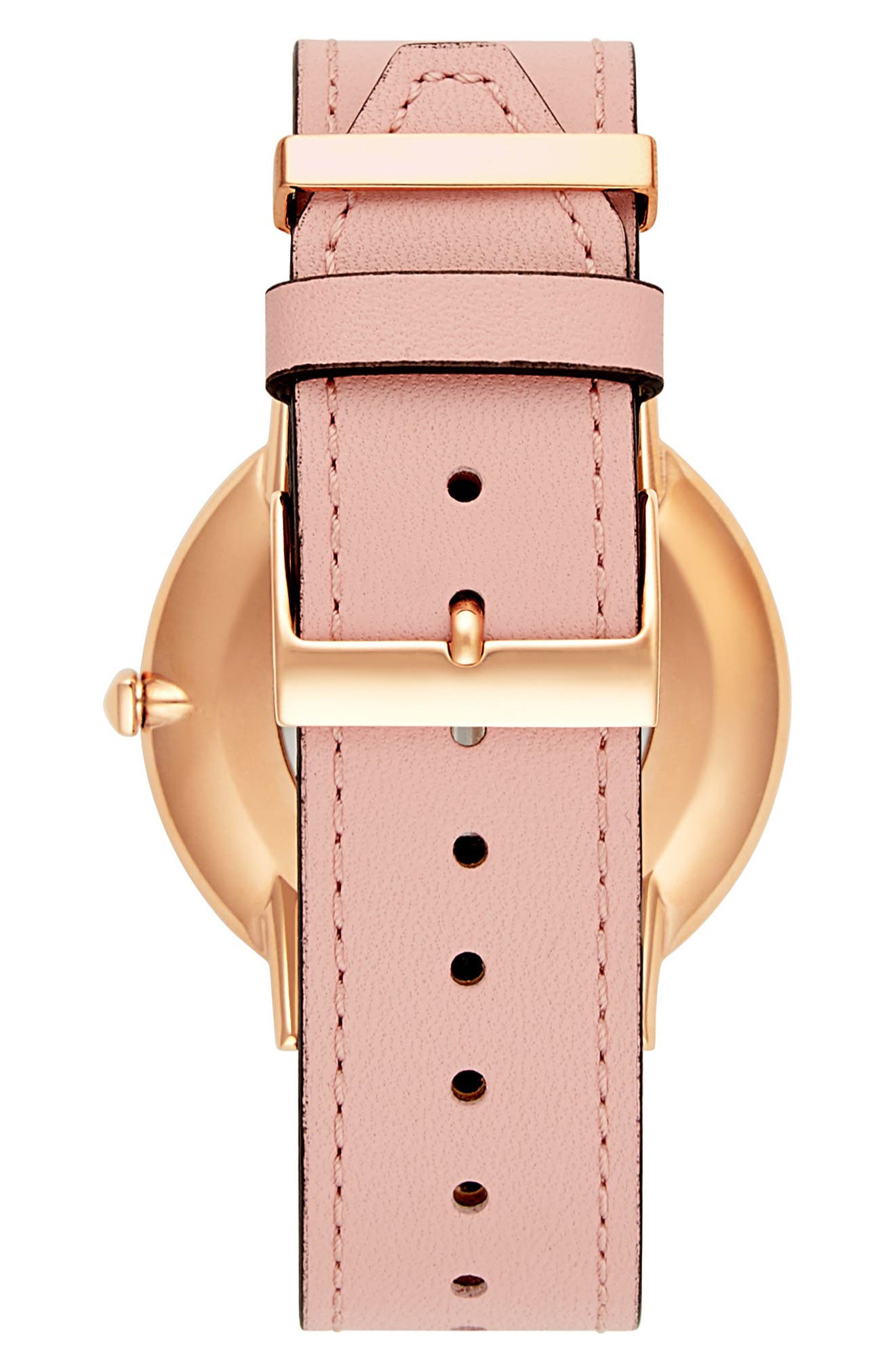 Major Leather Strap Watch, 40mm,                             Alternate thumbnail 2, color,                             BLUSH/ SILVER/ GOLD