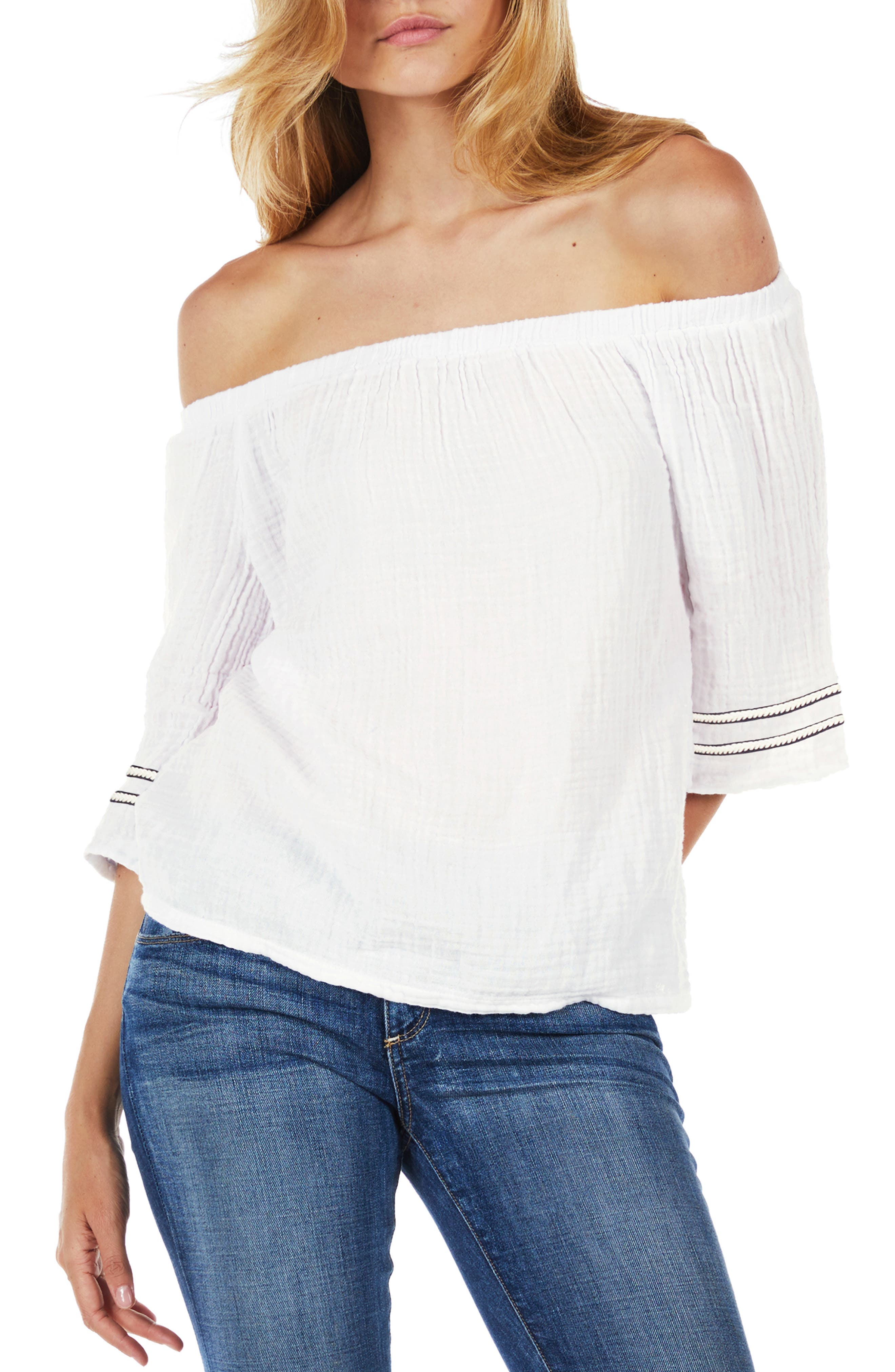 MICHAEL STARS Double Gauze Off The Shoulder Top in Chalk