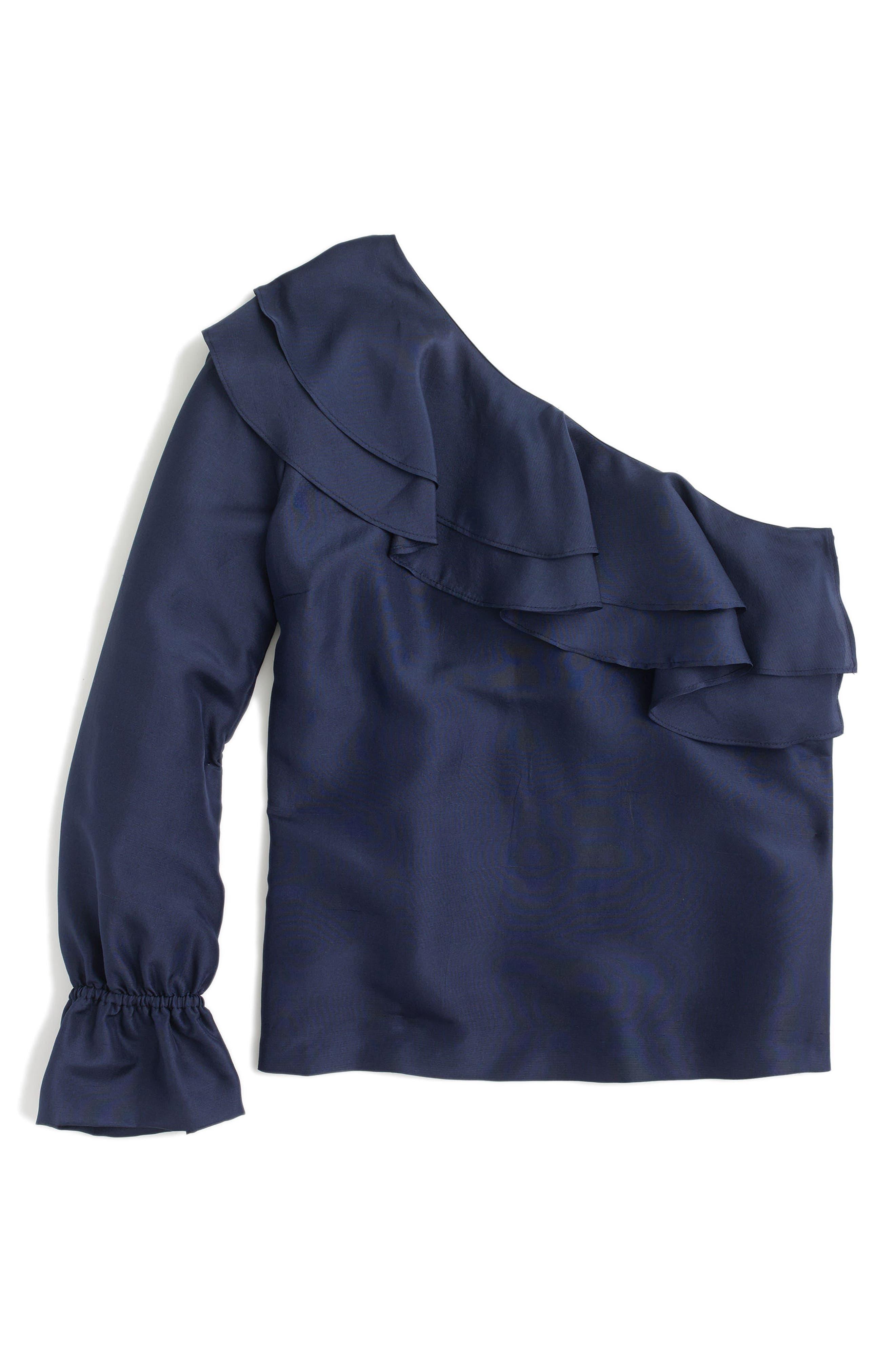 One-Shoulder Silk Shantung Top,                             Alternate thumbnail 3, color,                             400
