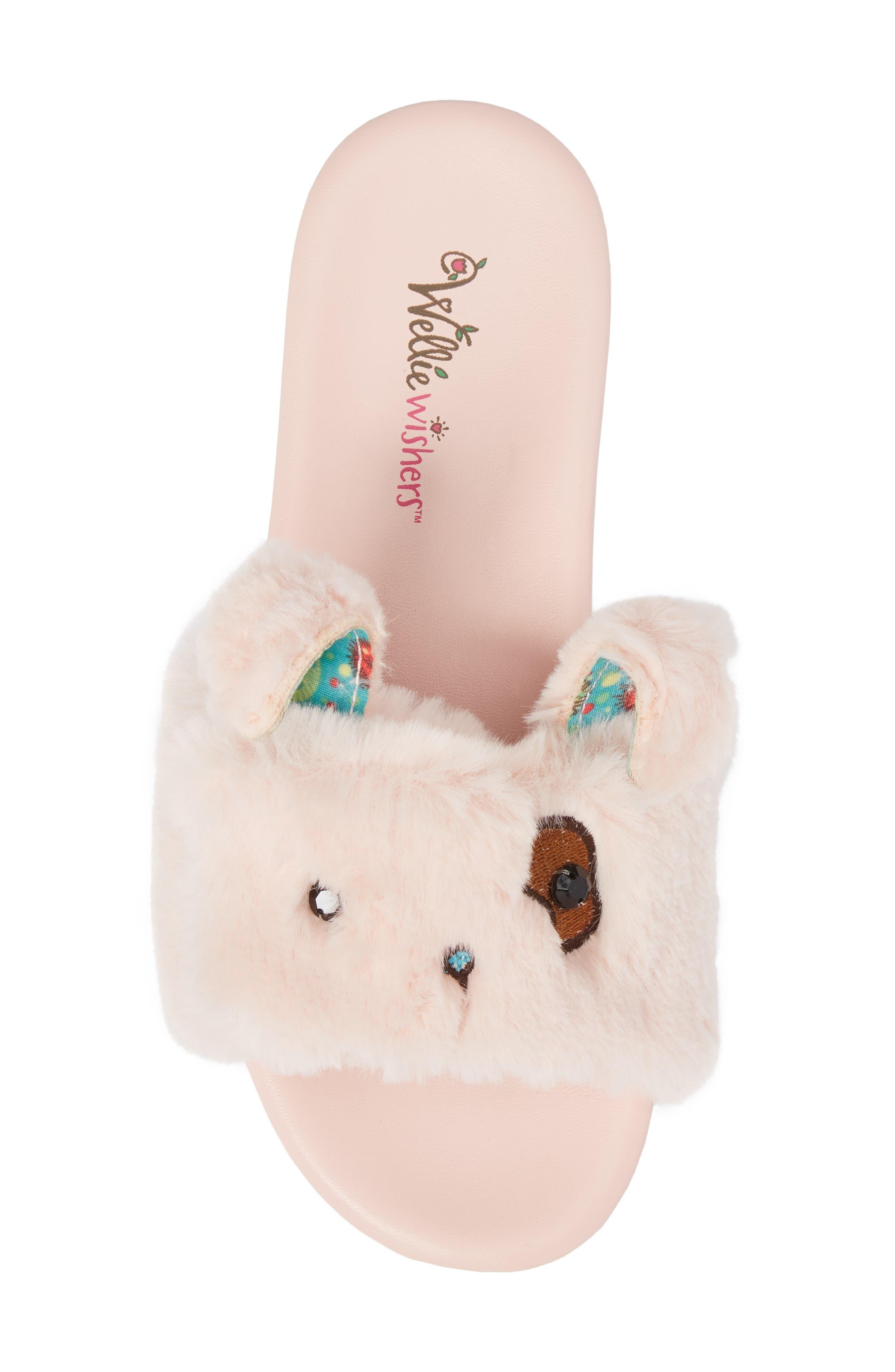 Willa Carrot Faux Fur Slide Sandal,                             Alternate thumbnail 5, color,                             650