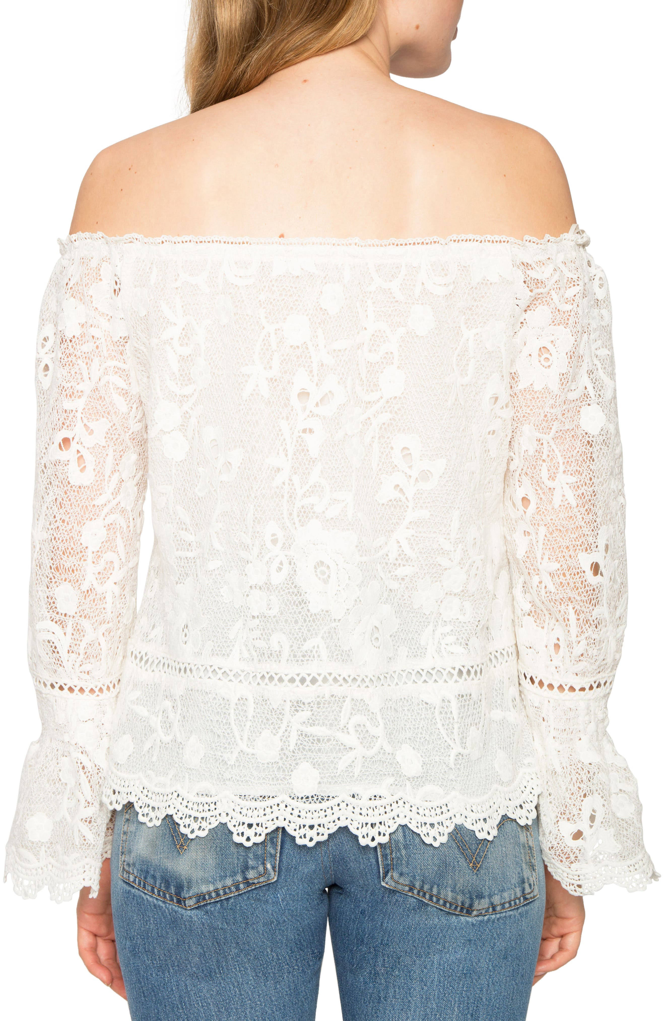 Lace Off the Shoulder Top,                             Alternate thumbnail 2, color,                             900
