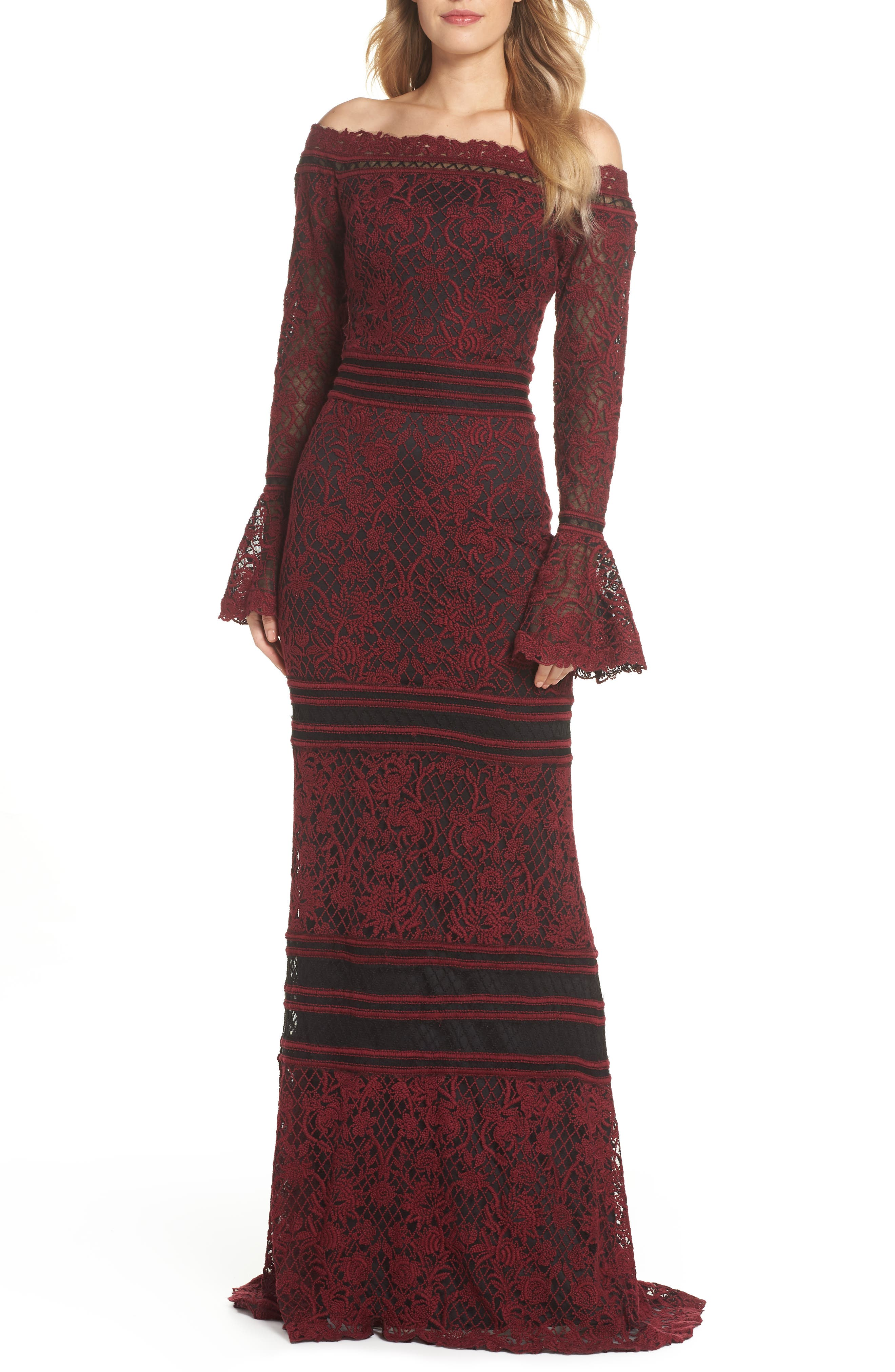 Tadashi Shoji Bell Sleeve Embroidered Lace Gown, Red
