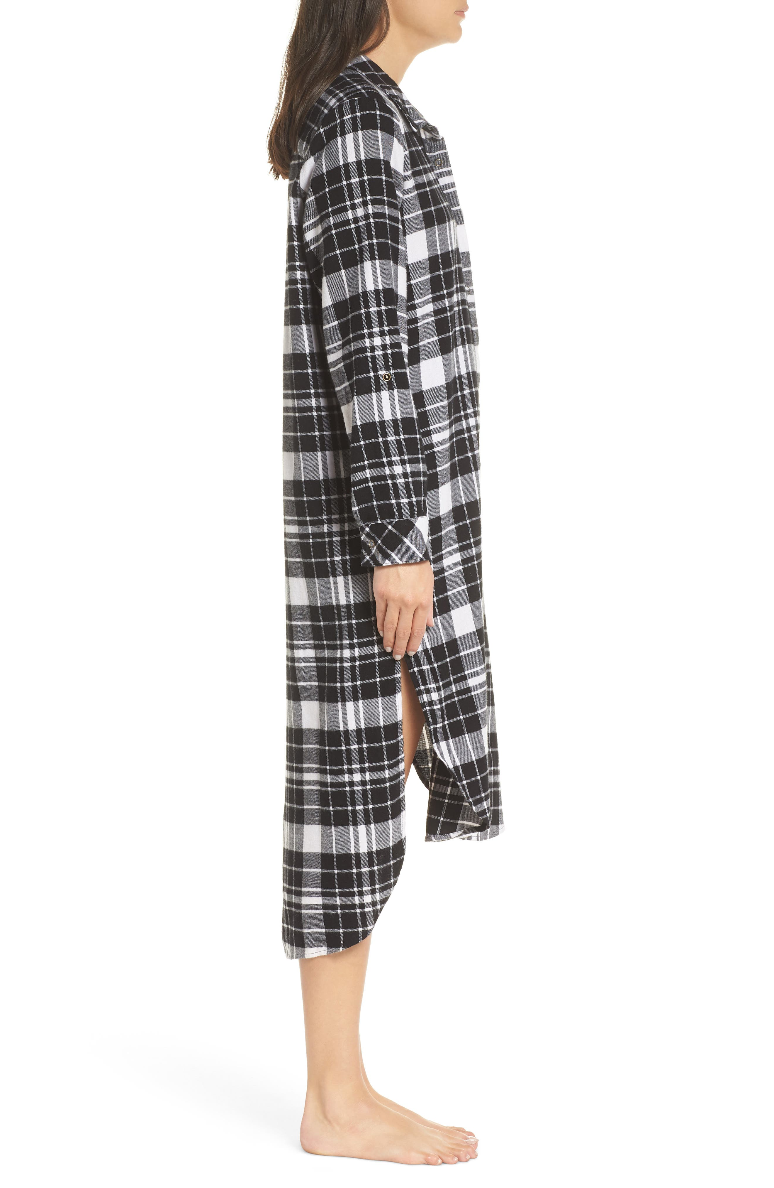 Flannel Midi Sleep Shirt,                             Alternate thumbnail 4, color,                             BLACK FLAT TWILL