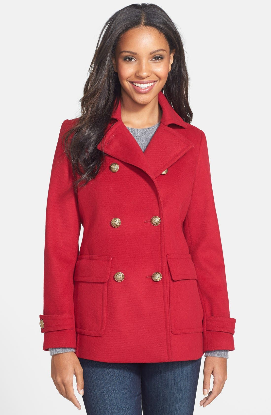 Double Breasted Wool Blend Skirted Peacoat,                             Main thumbnail 3, color,