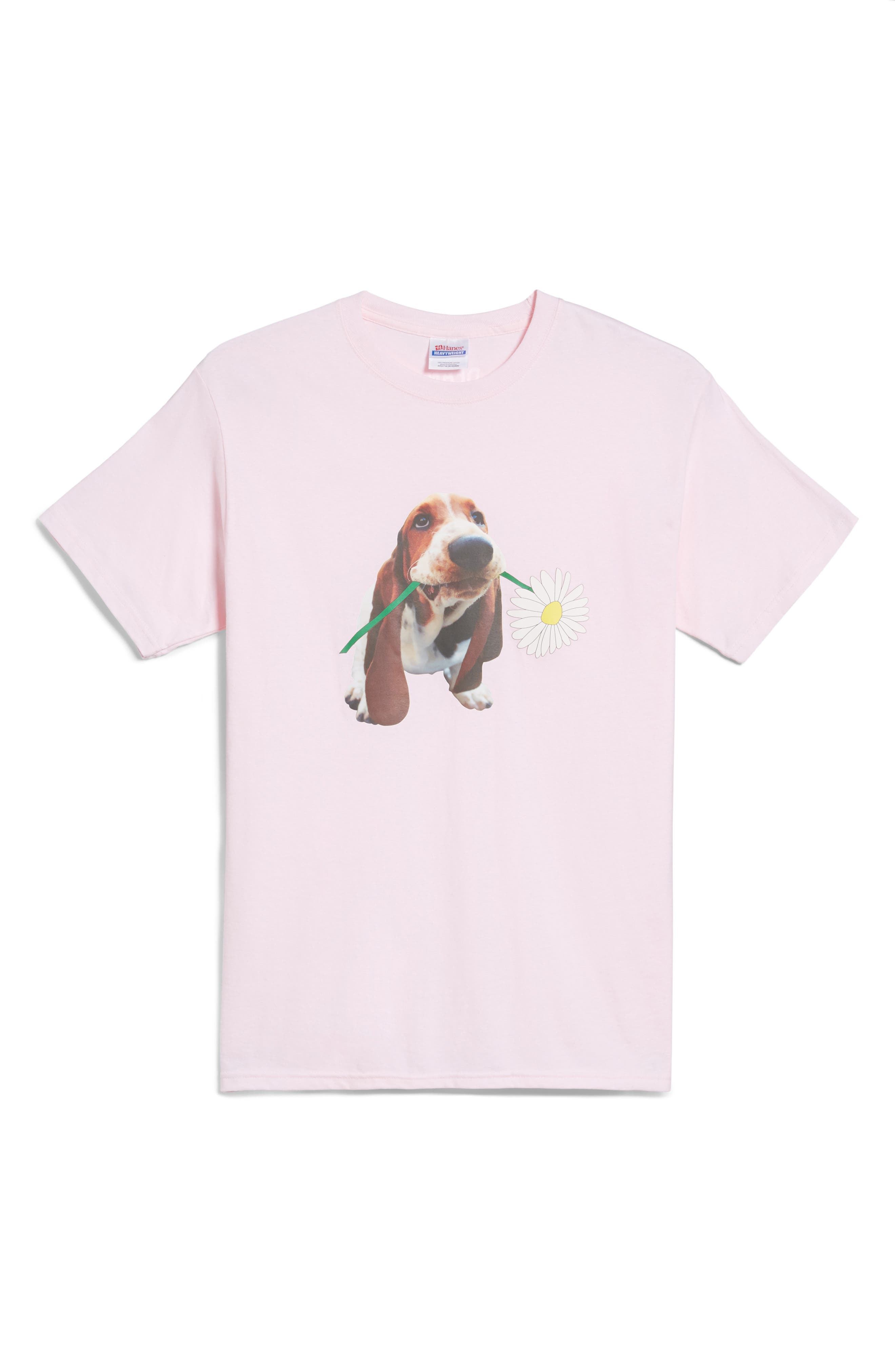 Dean the Basset Flower T-Shirt,                             Main thumbnail 1, color,                             650
