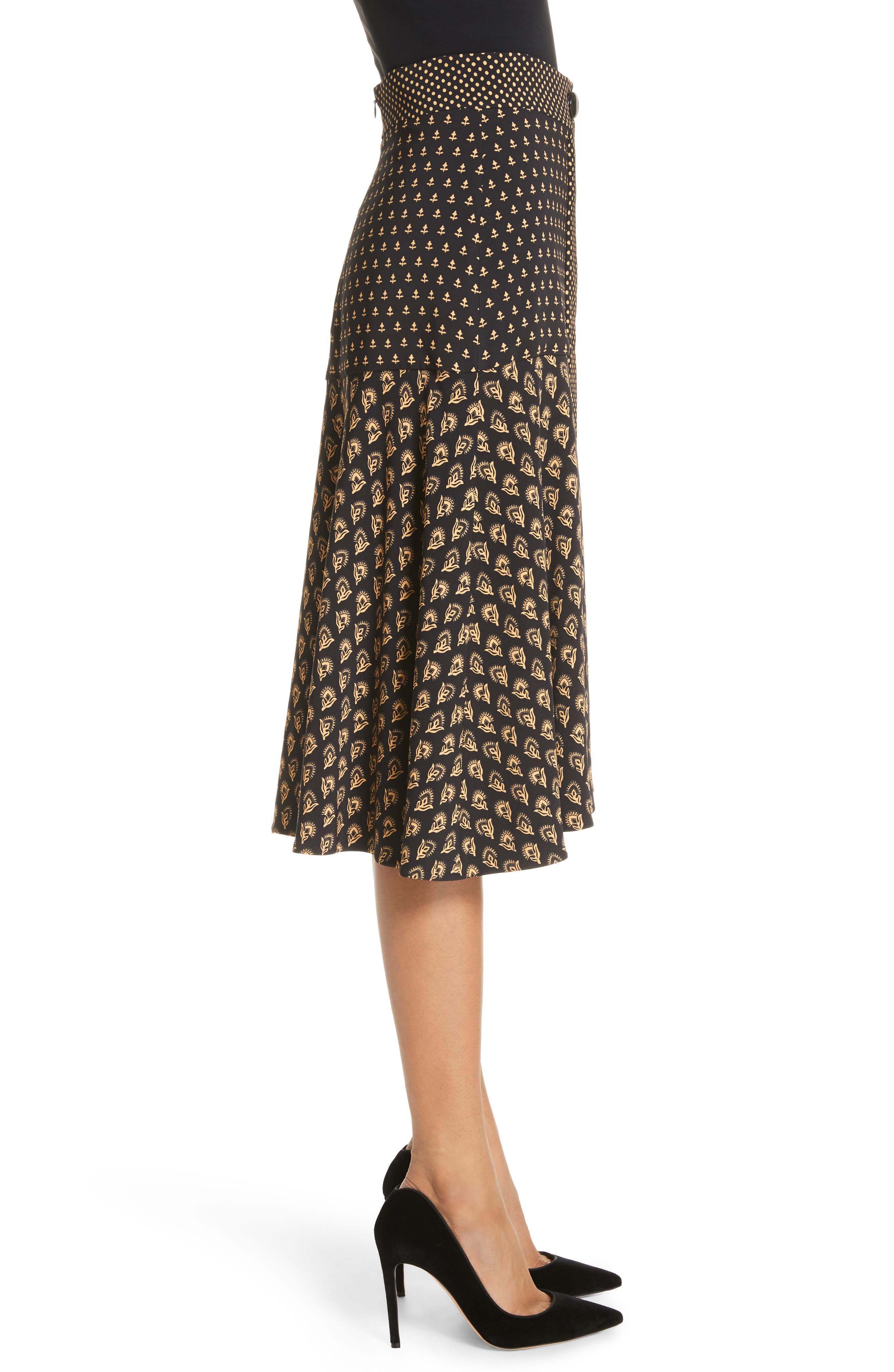 Mixed Print Crepe Midi Skirt,                             Alternate thumbnail 3, color,                             BLACK/ TAN FLOWER