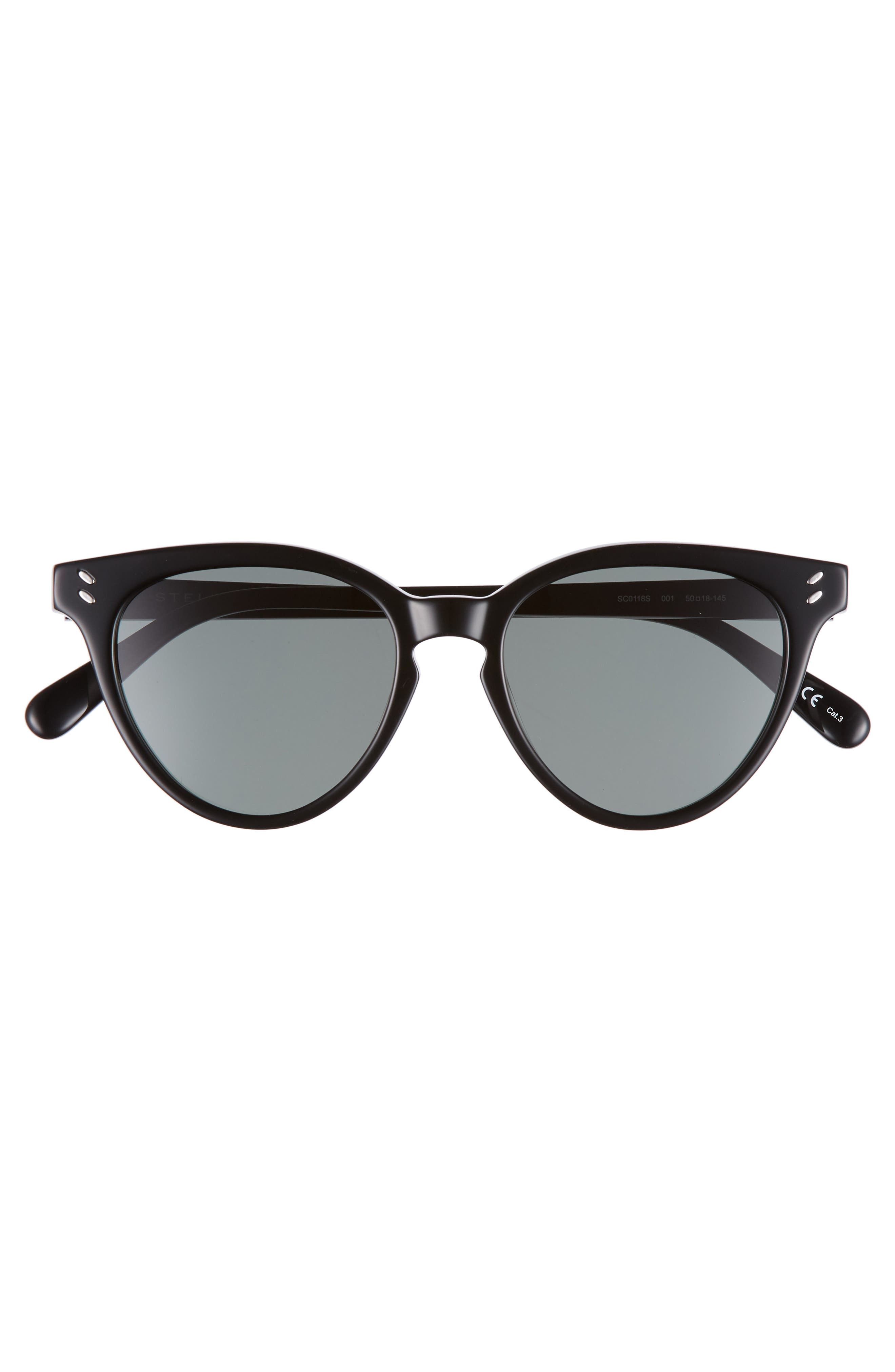 50mm Round Sunglasses,                             Alternate thumbnail 3, color,                             BLACK