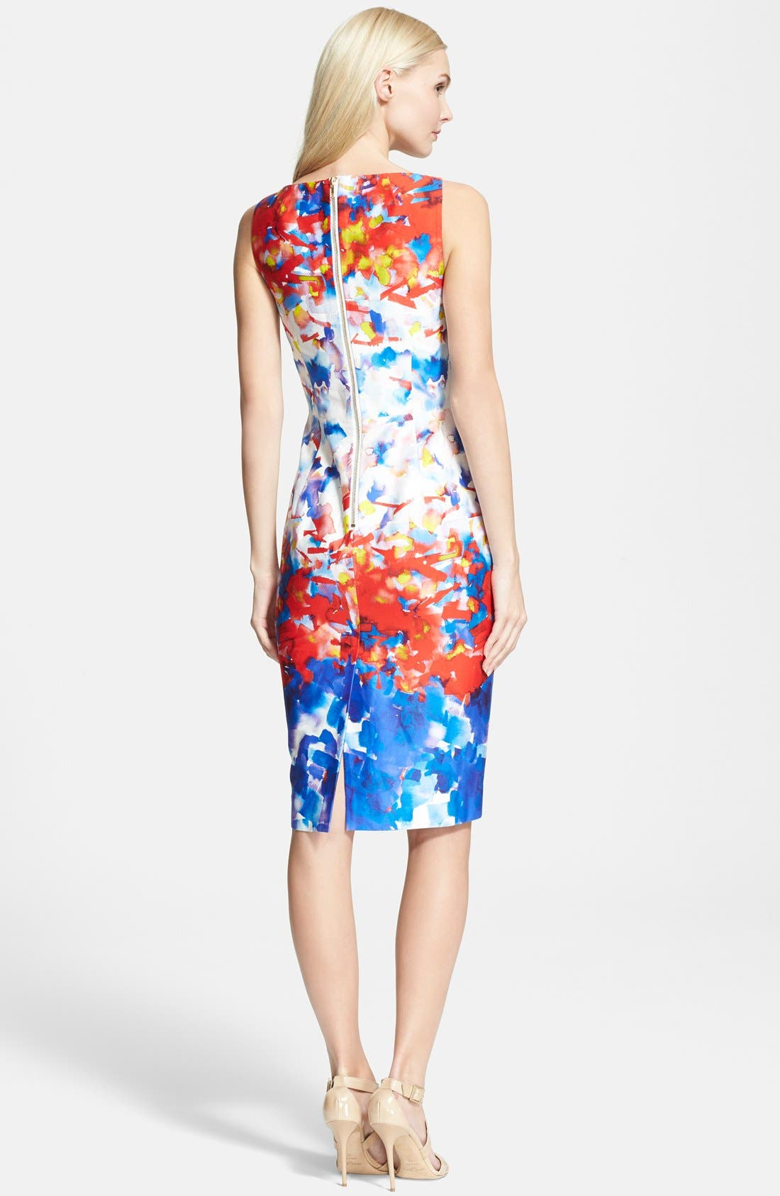 Watercolor Print Sheath Dress,                             Alternate thumbnail 3, color,                             604