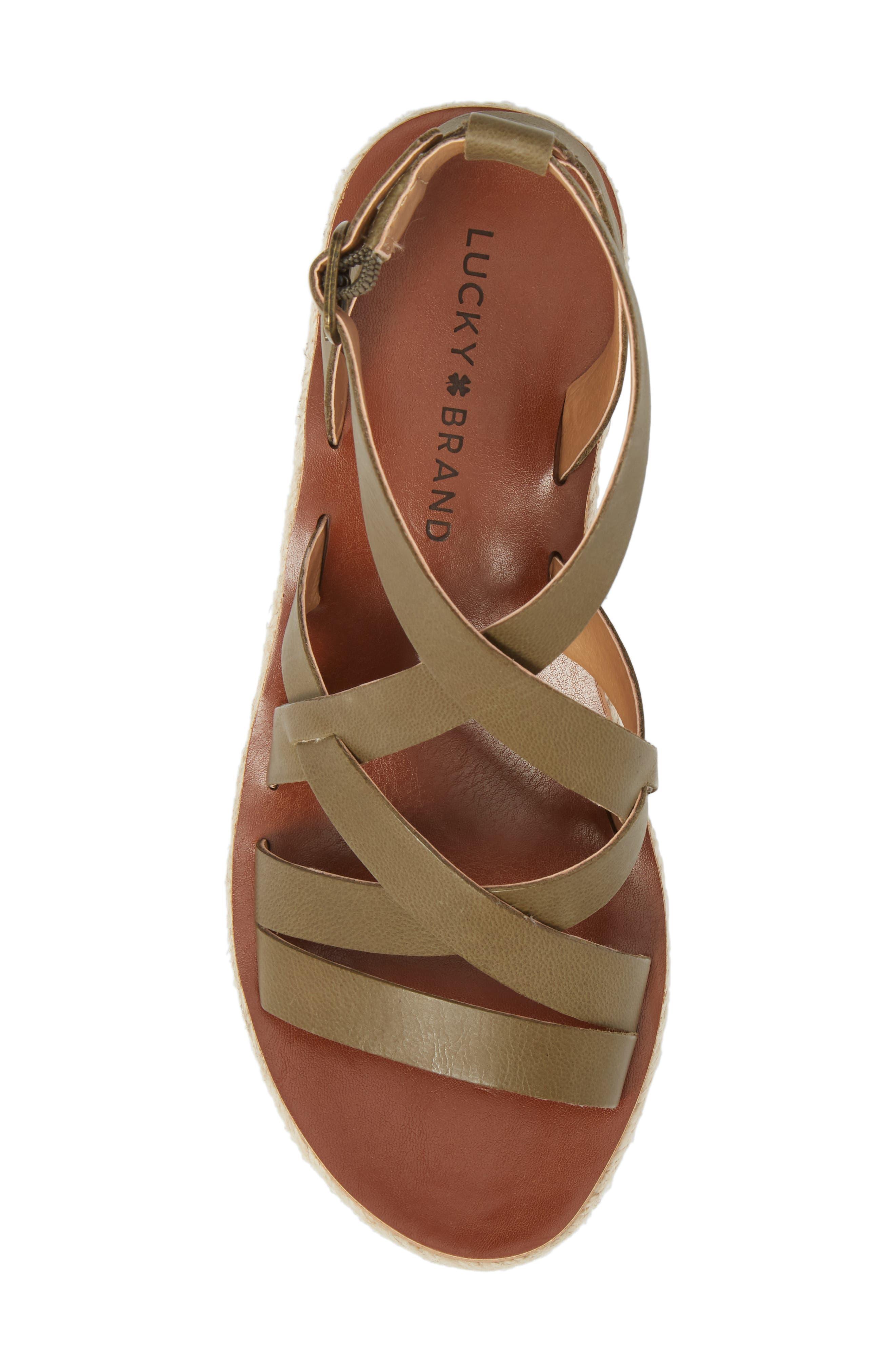 LUCKY BRAND,                             Jenepper Platform Wedge Sandal,                             Alternate thumbnail 5, color,                             DRAB LEATHER