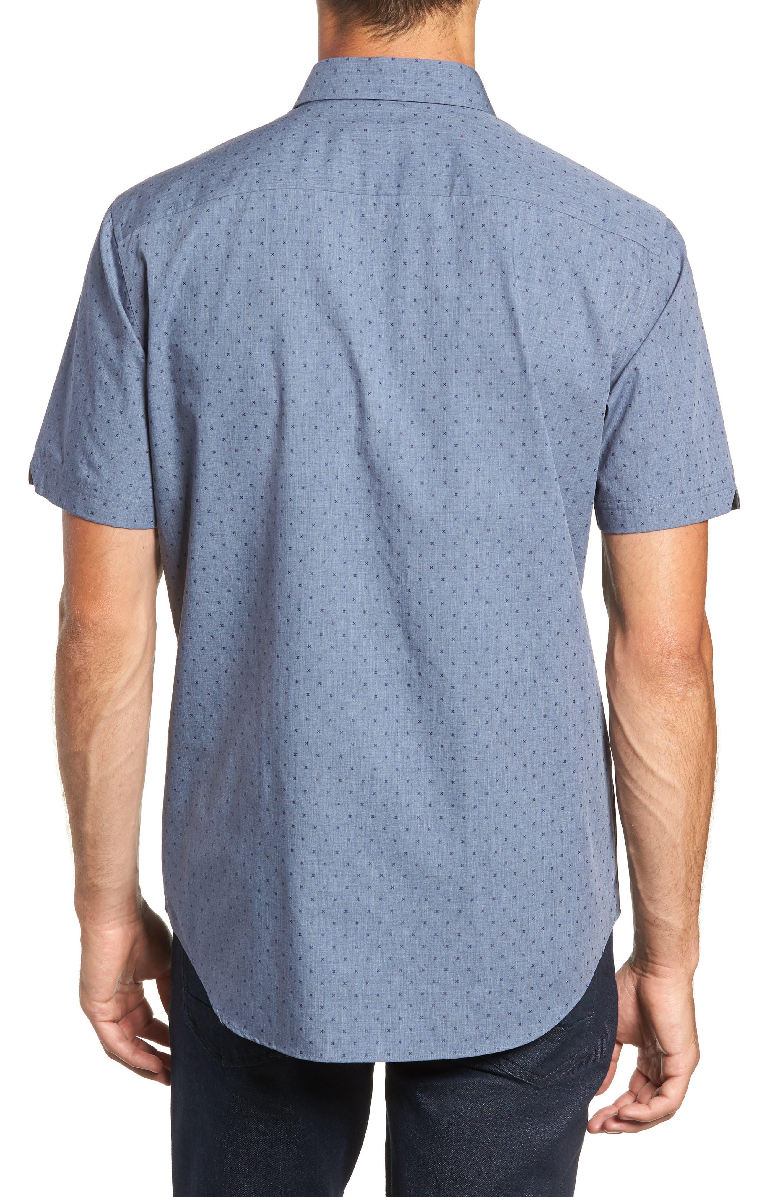 Huang Regular Fit Dobby Sport Shirt,                             Alternate thumbnail 3, color,                             DENIM