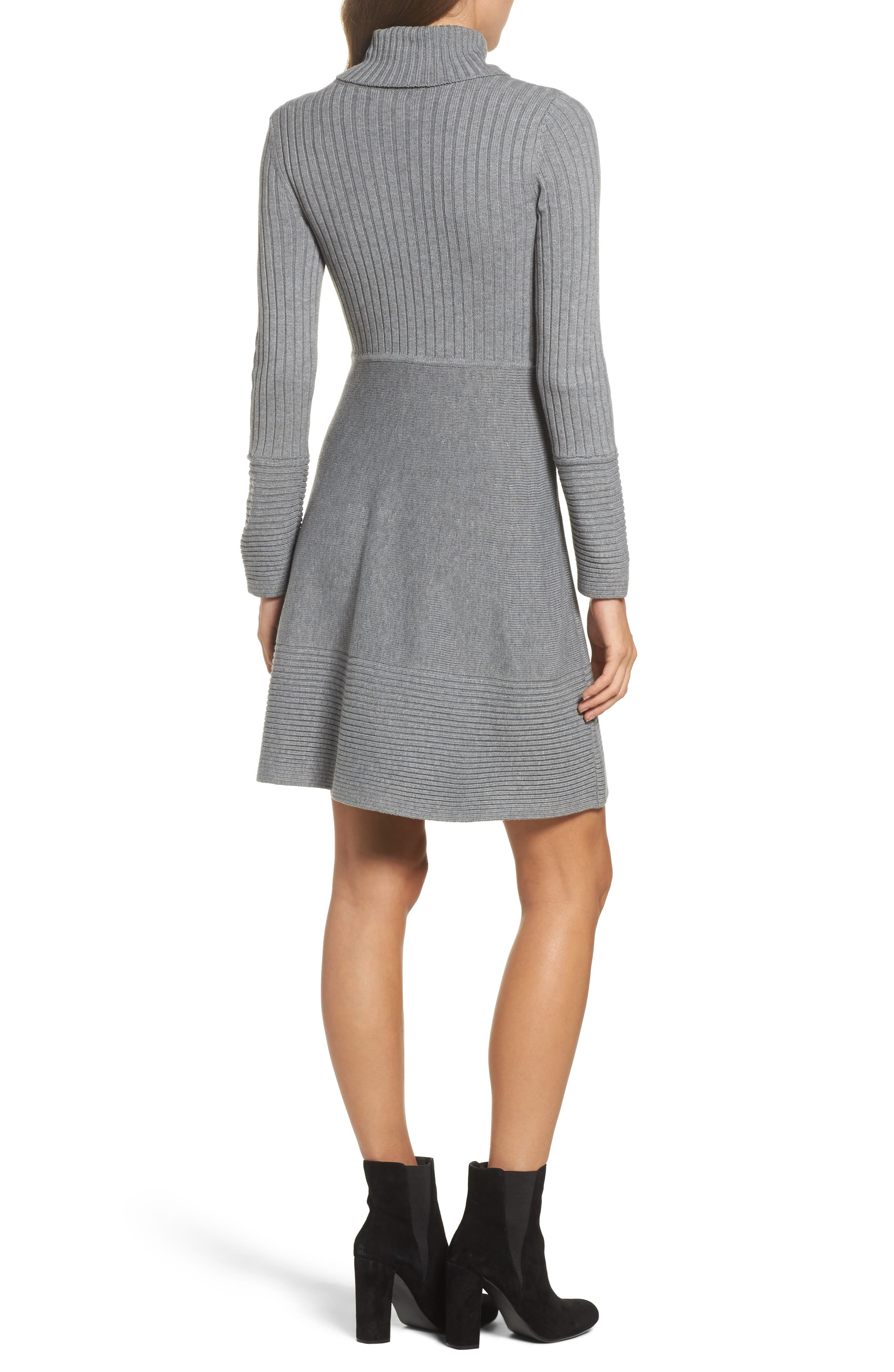 Turtleneck Sweater Dress,                             Alternate thumbnail 2, color,                             GREY