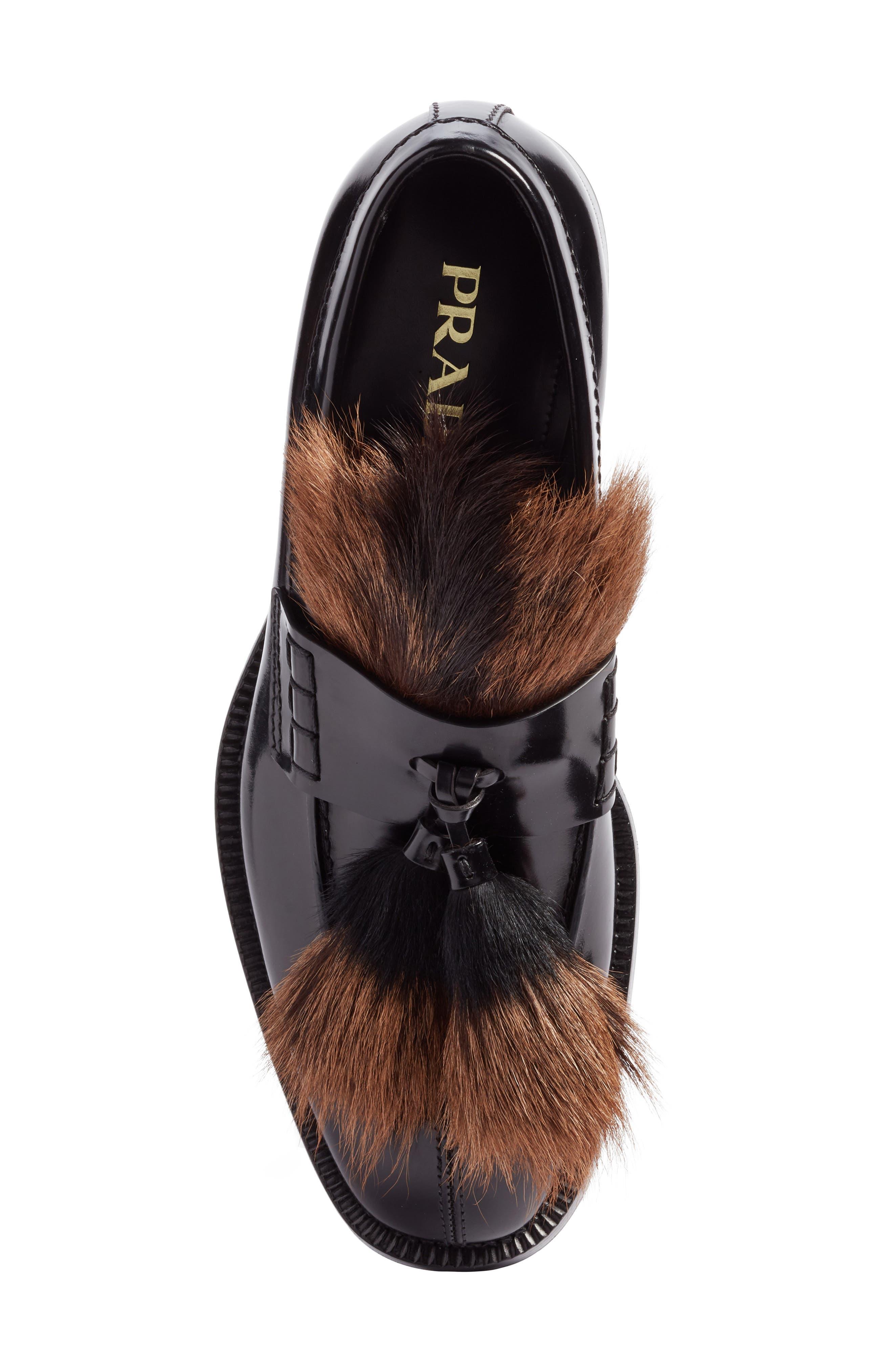 Tassel Loafer with Genuine Goat Hair Trim,                             Alternate thumbnail 5, color,                             001