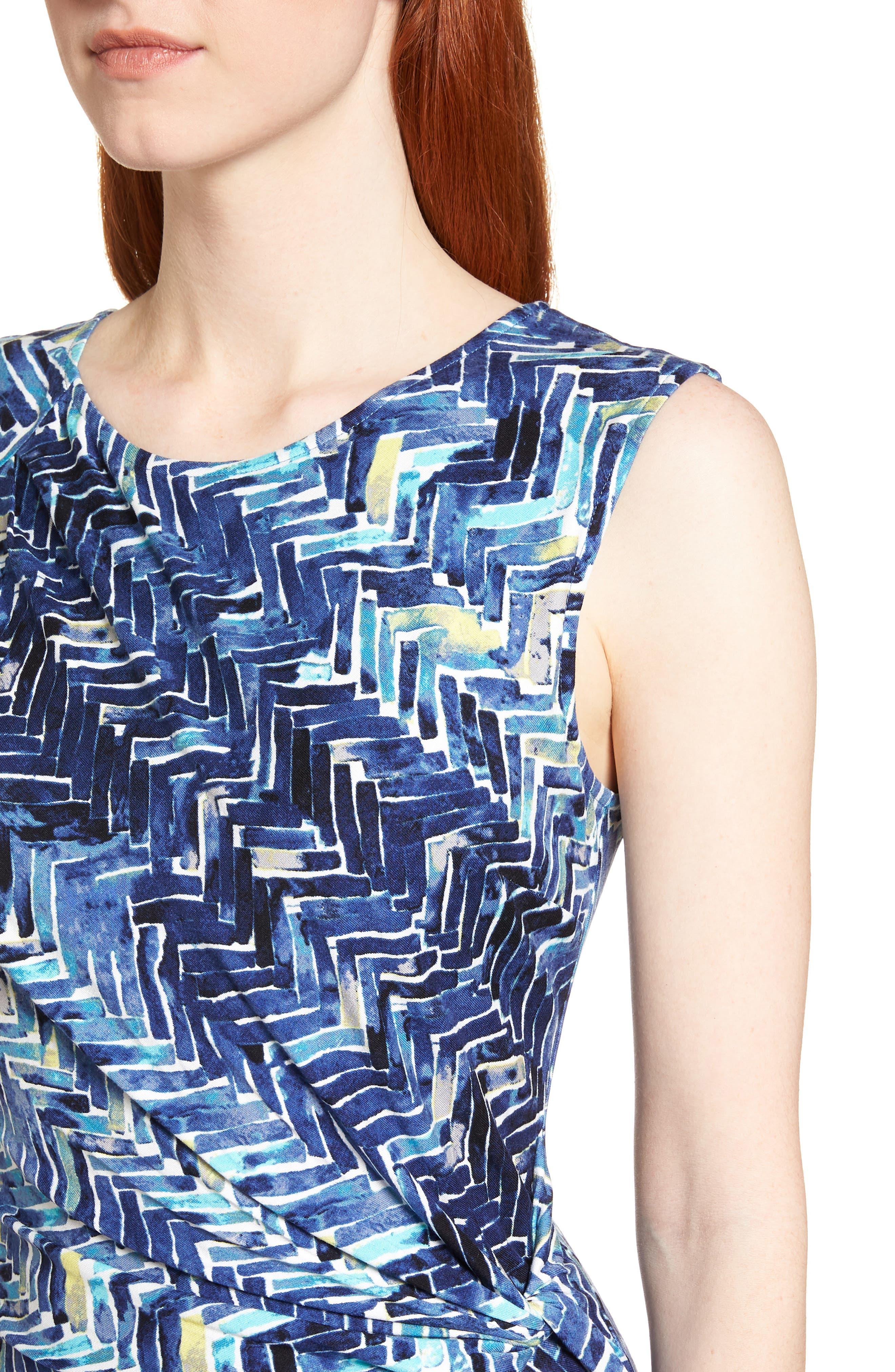 Seaside Tile Ruched Sheath Dress,                             Alternate thumbnail 4, color,