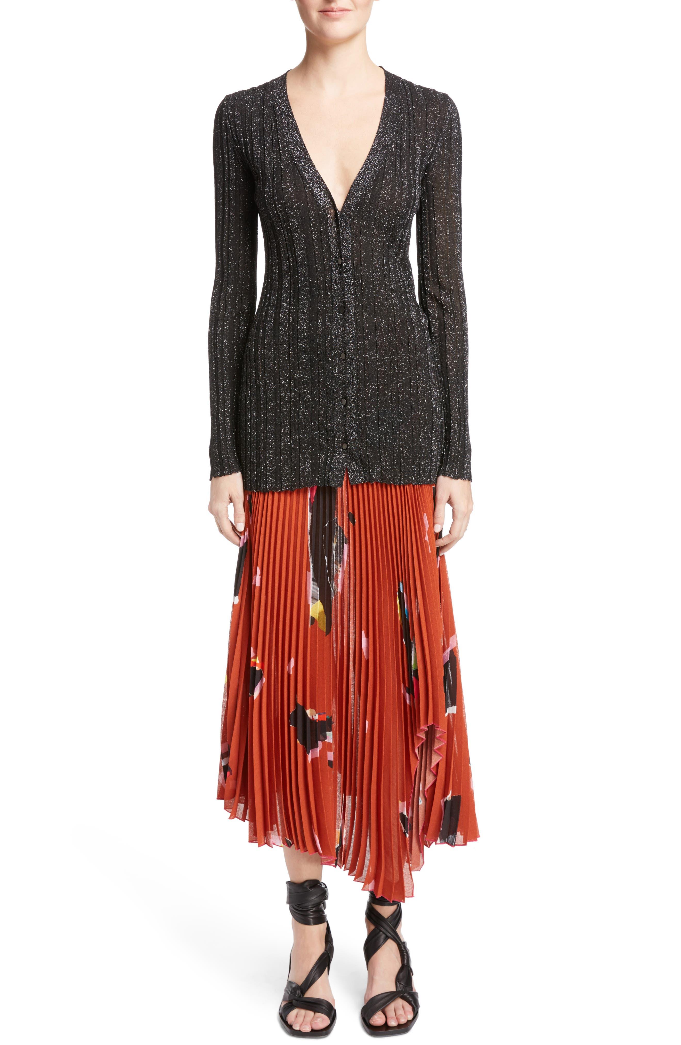 Lurex<sup>®</sup> Metallic Rib Knit Cardigan,                             Alternate thumbnail 6, color,                             001