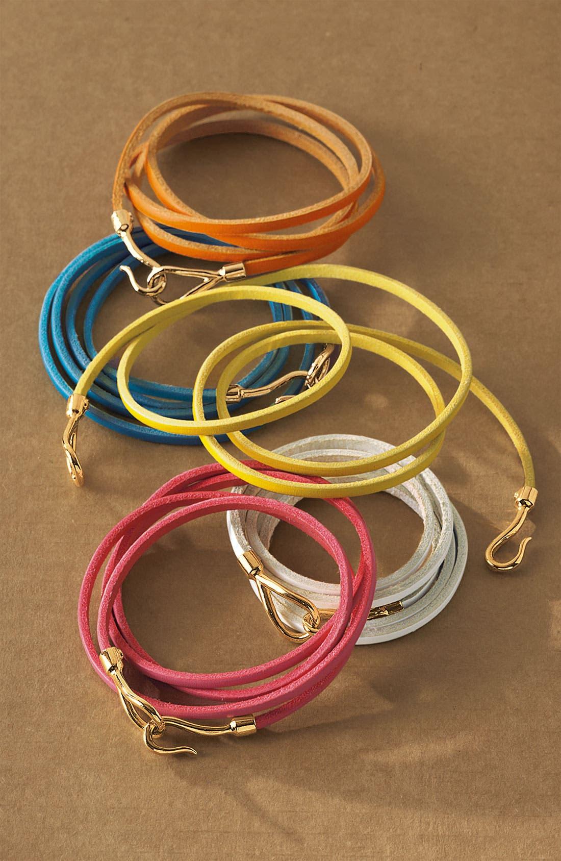 Couture Leather Wrap Bracelet,                             Alternate thumbnail 3, color,                             001