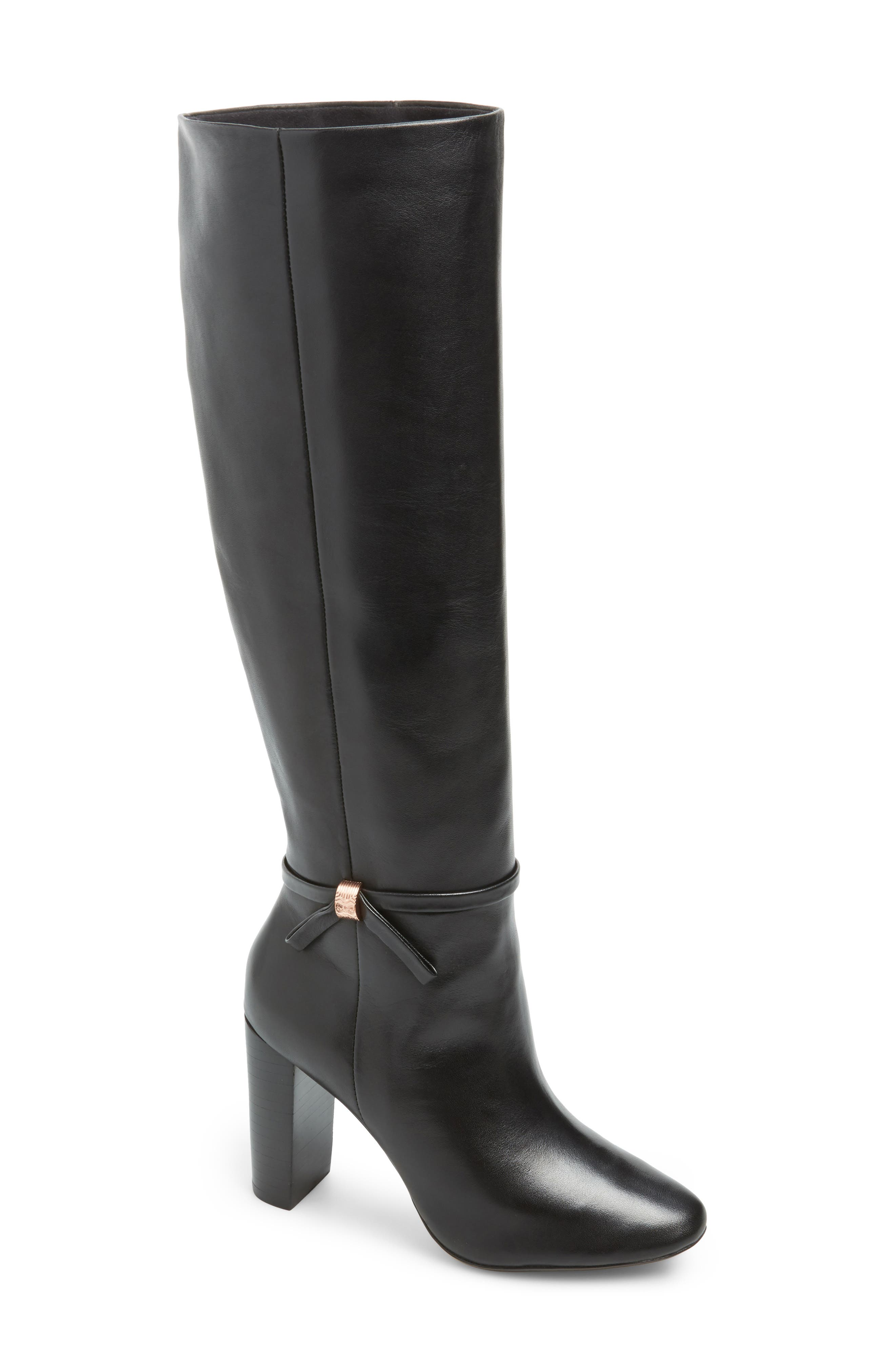 Linaey Knee High Boot,                         Main,                         color, BLACK LEATHER