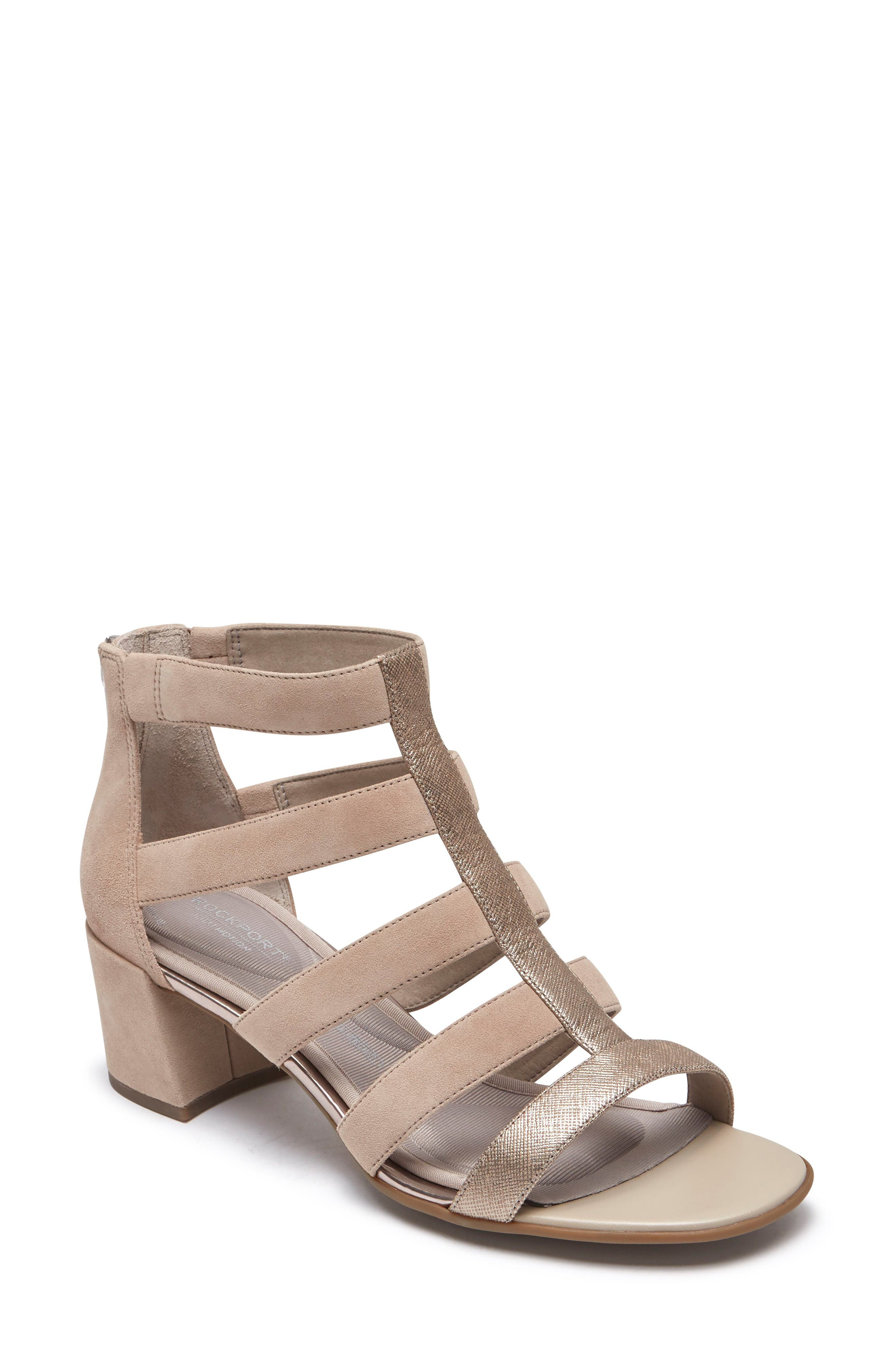 ROCKPORT Total Motion Alaina Luxe Cage Sandal, Main, color, DOVE SUEDE