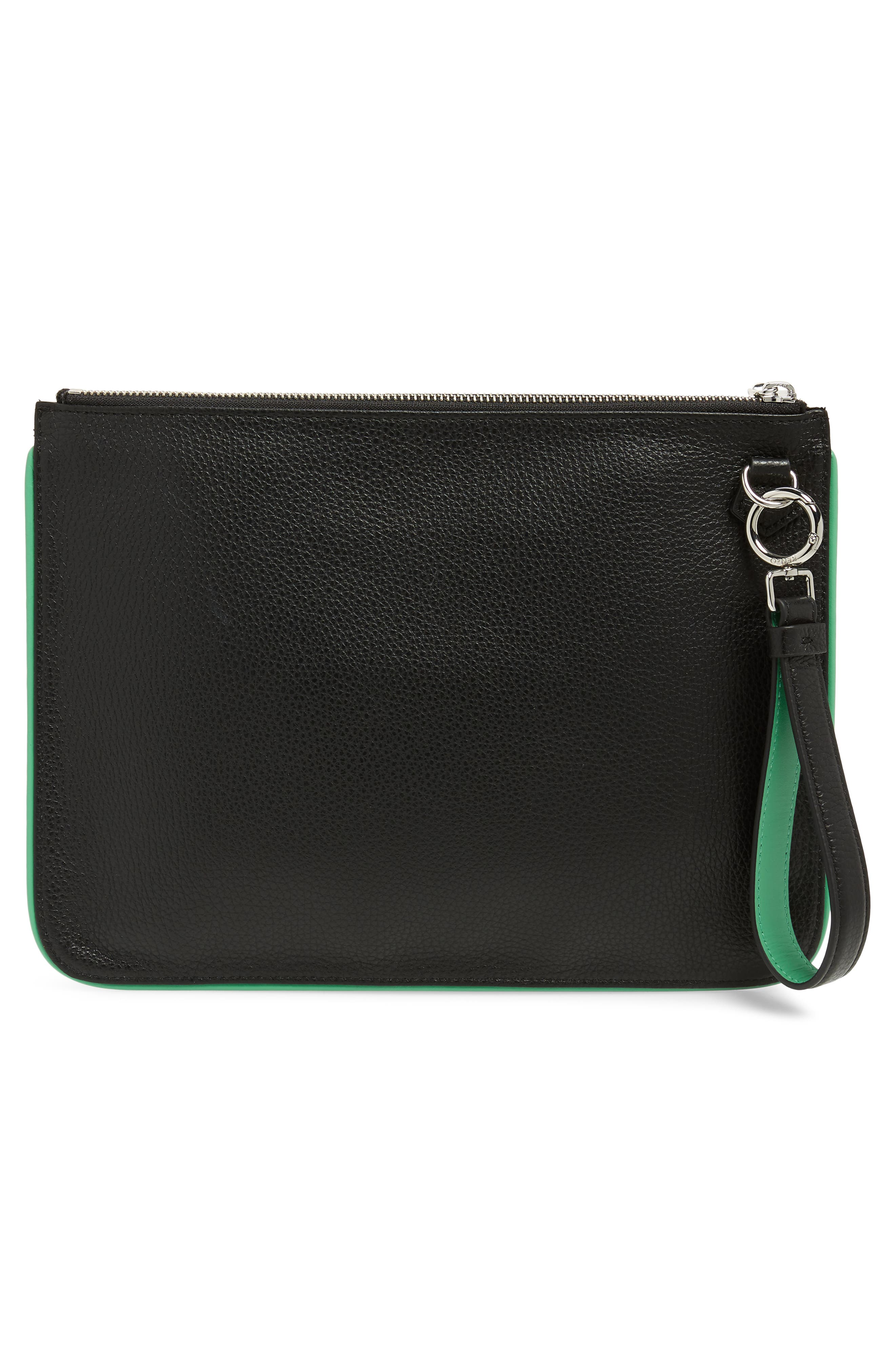 Leaping Tiger Leather A4 Pouch,                             Alternate thumbnail 3, color,                             BLACK