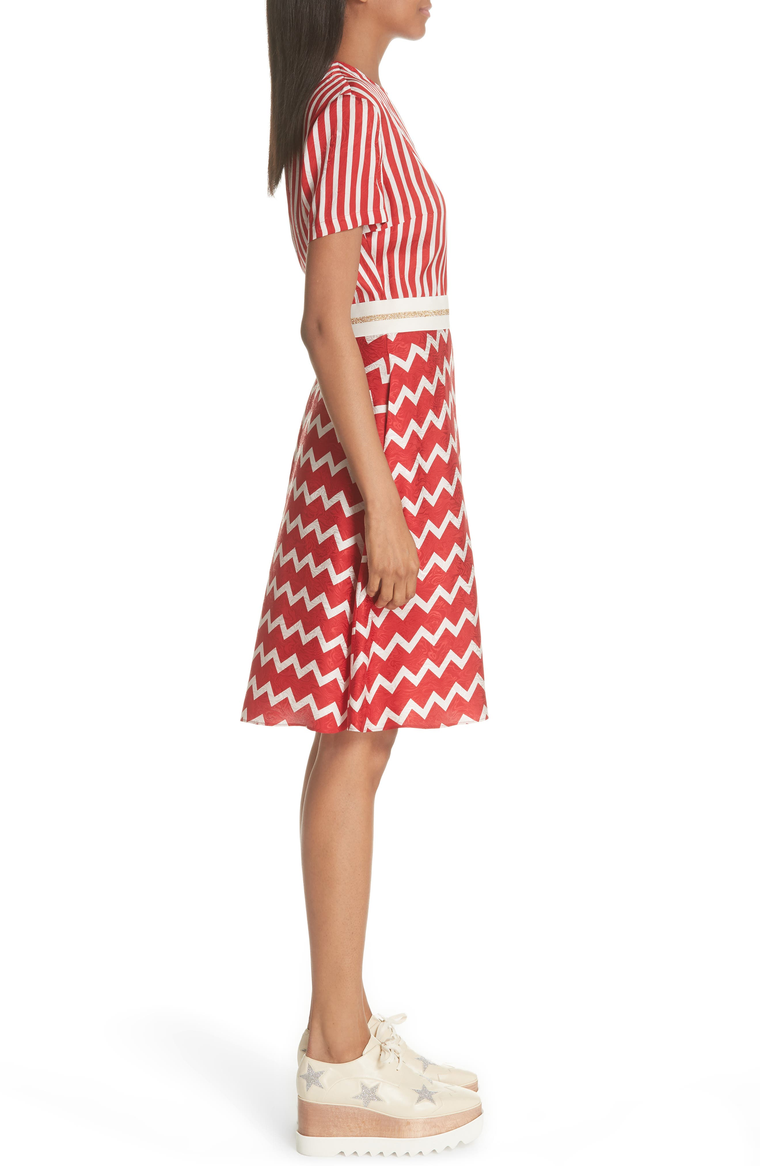 STELLA MCCARTNEY,                             Zigzag Stripe Silk Dress,                             Alternate thumbnail 3, color,                             627