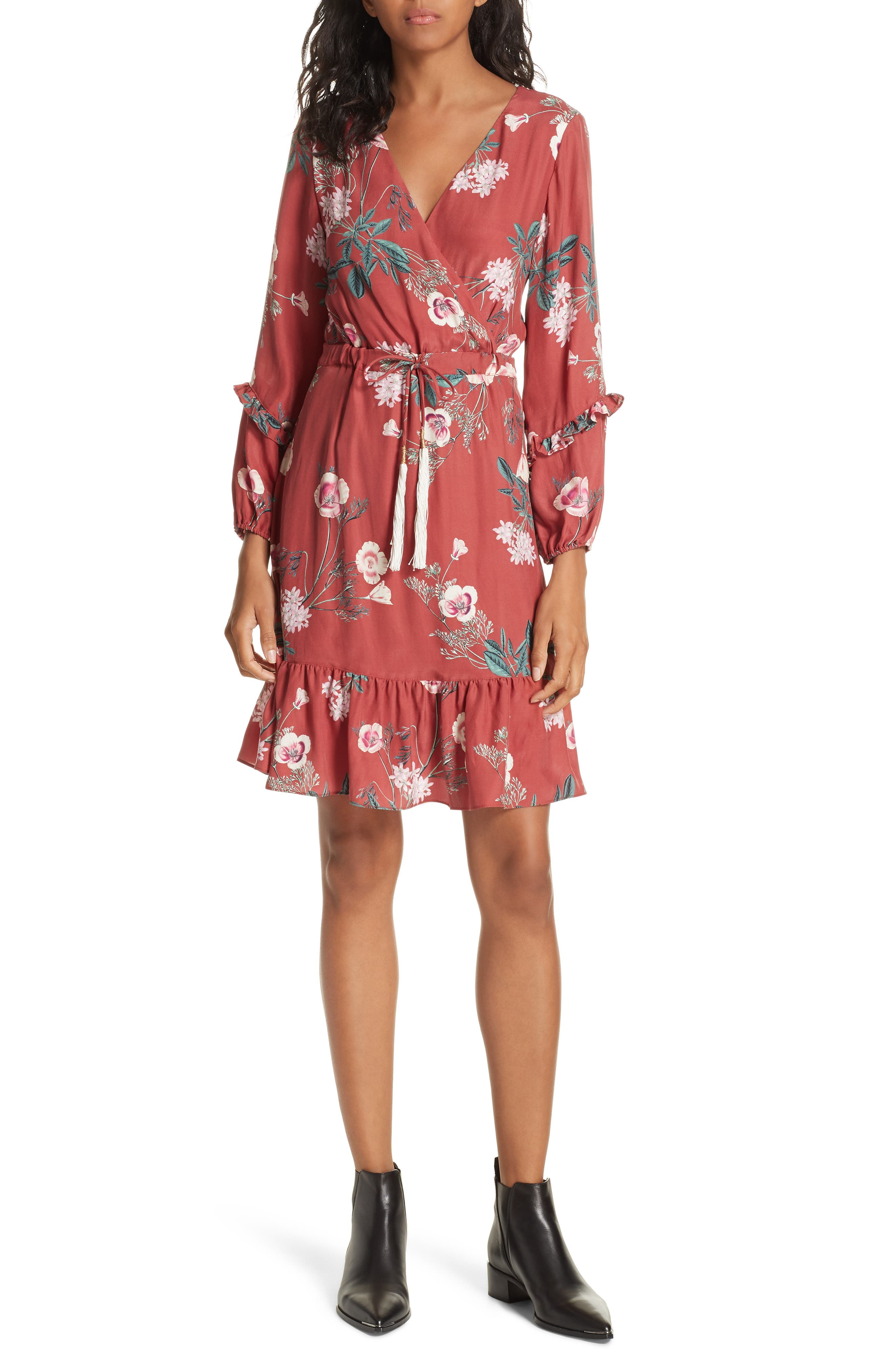 Floral Faux Wrap Silk Dress,                             Main thumbnail 1, color,                             RED BLOSSOM FLORAL