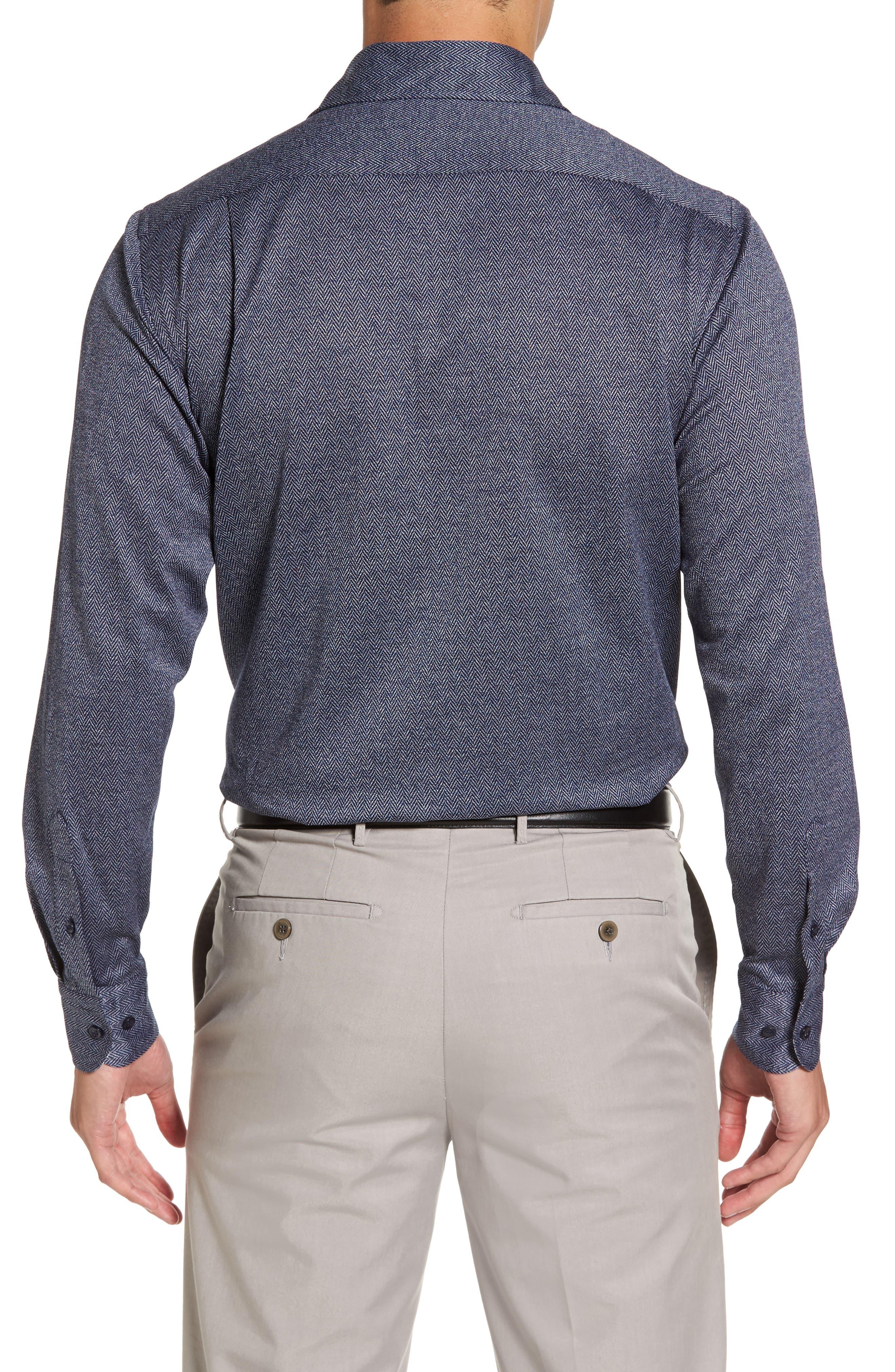 Paul&Shark Herringbone Sport Shirt,                             Alternate thumbnail 2, color,                             400