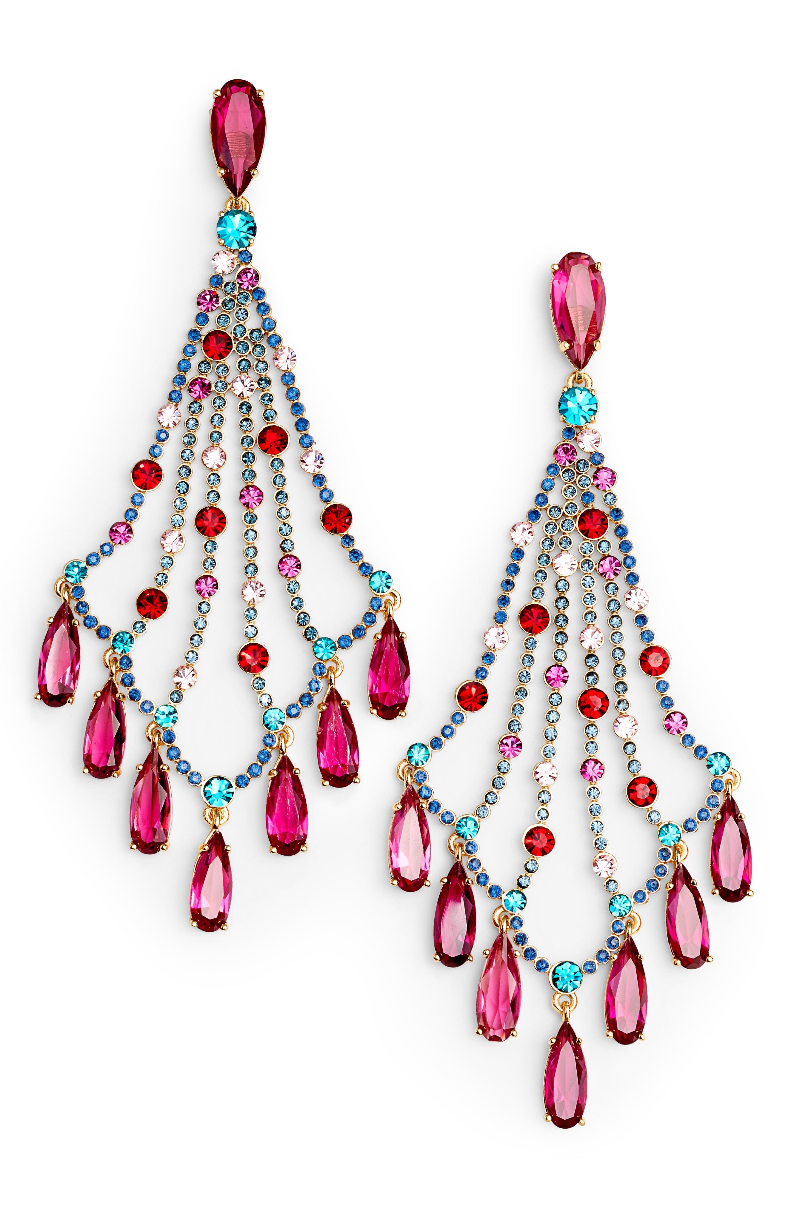 kate spade cascade crystal drop earrings,                         Main,                         color,