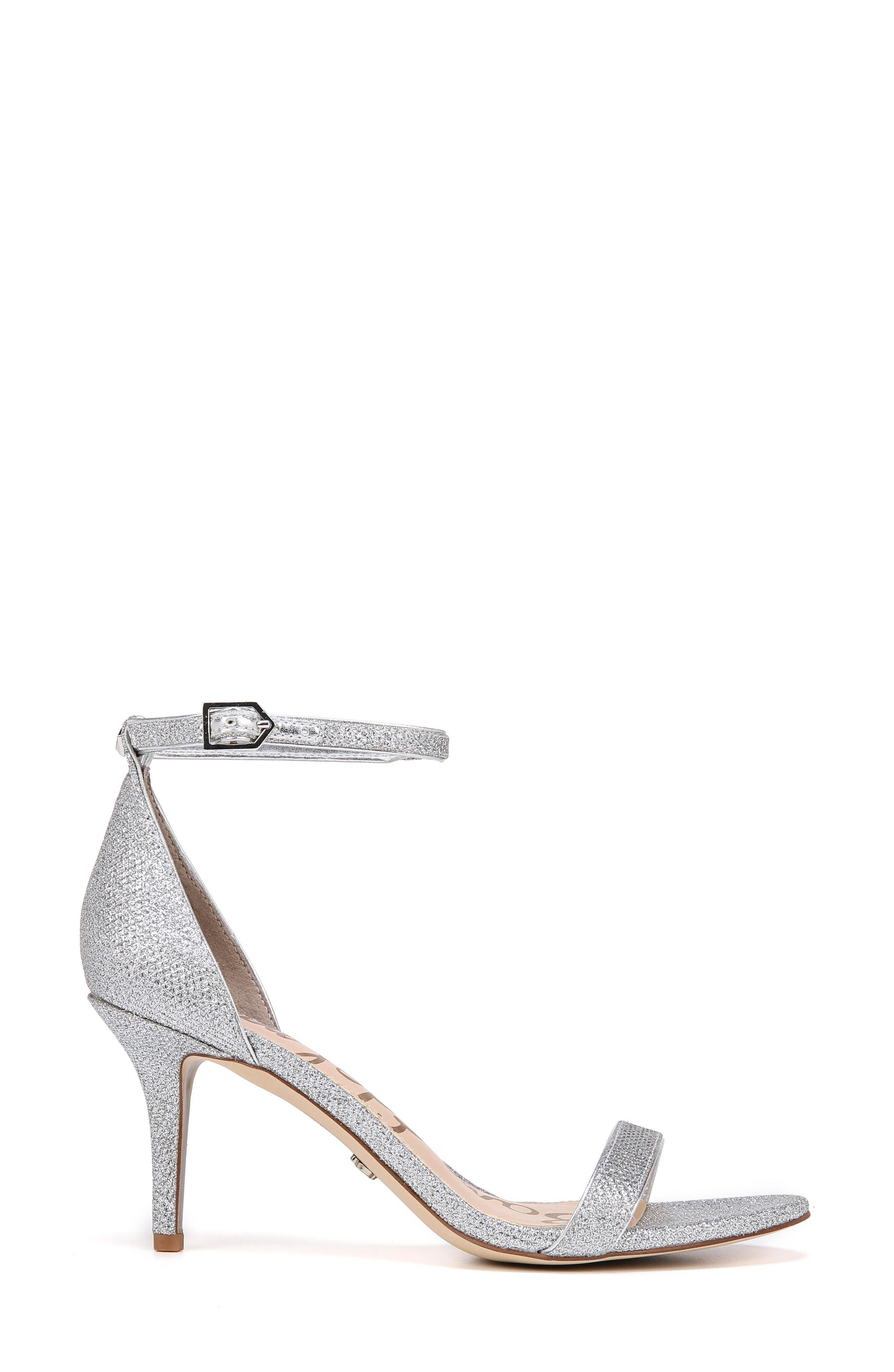 'Patti' Ankle Strap Sandal,                             Alternate thumbnail 3, color,                             SOFT SILVER FABRIC