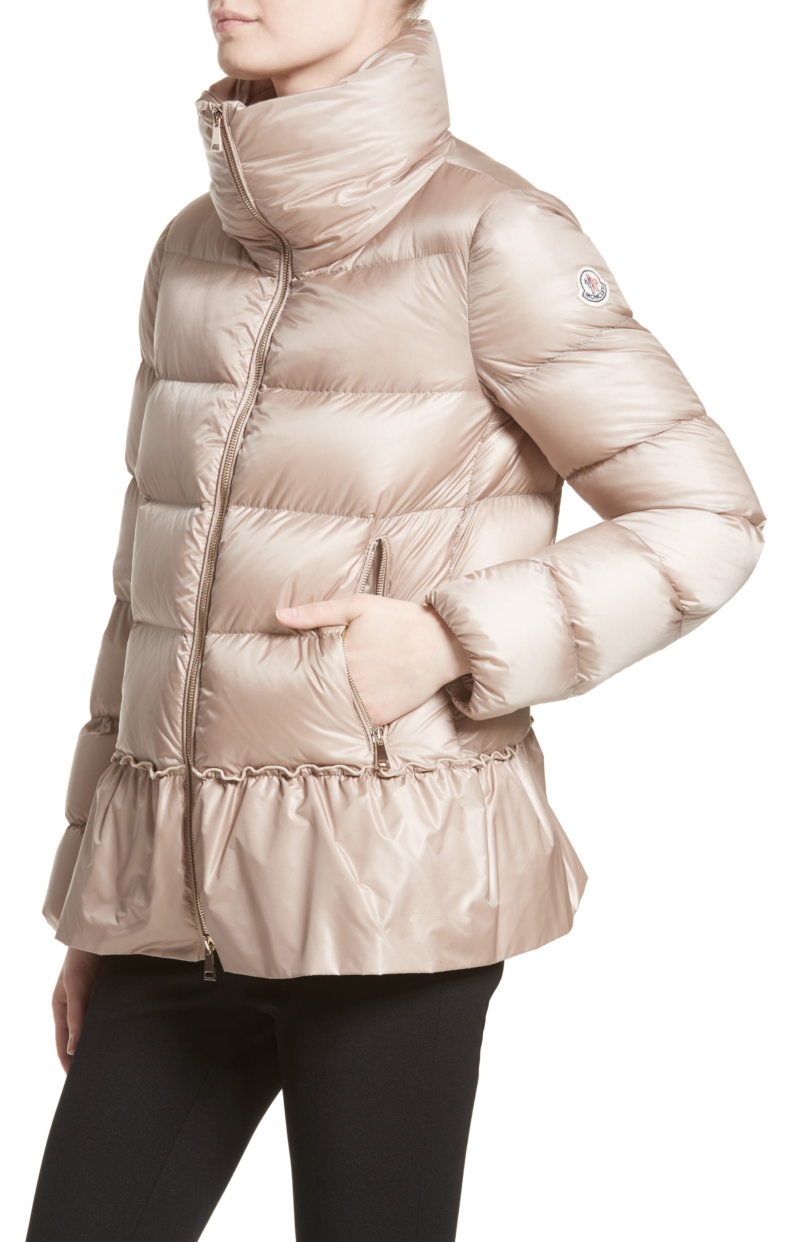 Anet Peplum Down Puffer Jacket,                             Alternate thumbnail 5, color,                             NATURAL