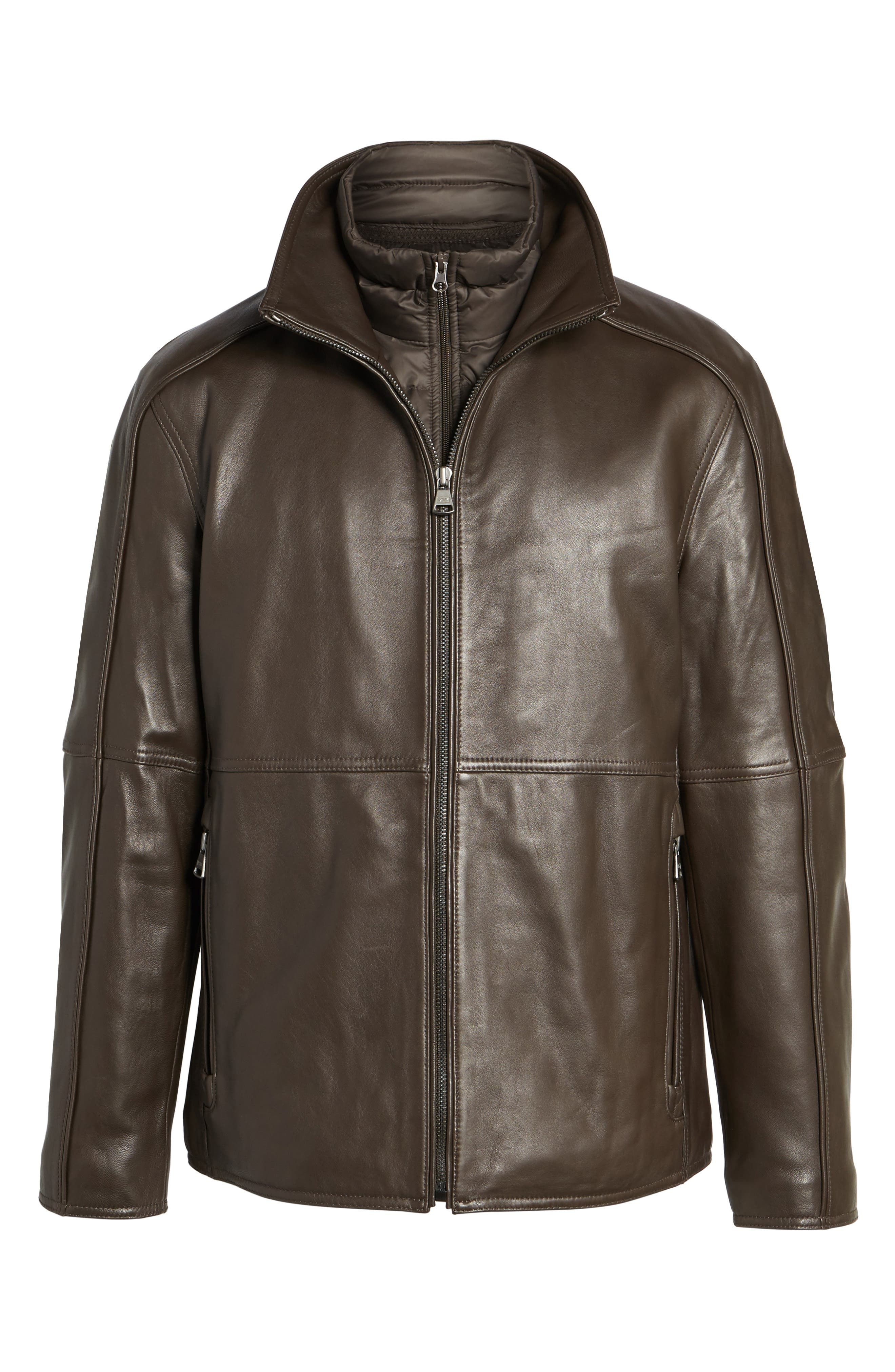 Leather Jacket with Quilted Insert,                             Alternate thumbnail 10, color,