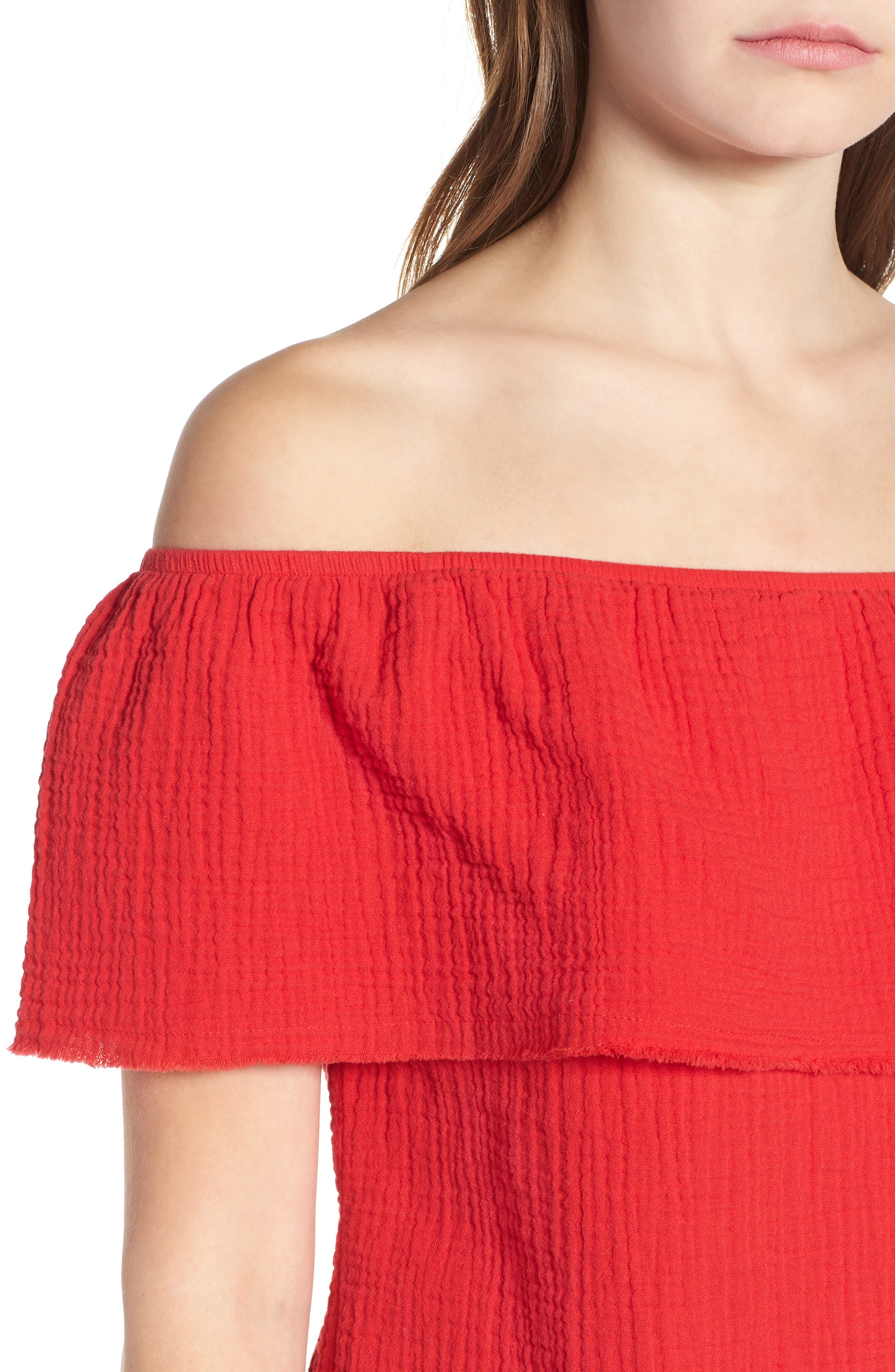 Ruffle Off the Shoulder Top,                             Alternate thumbnail 12, color,