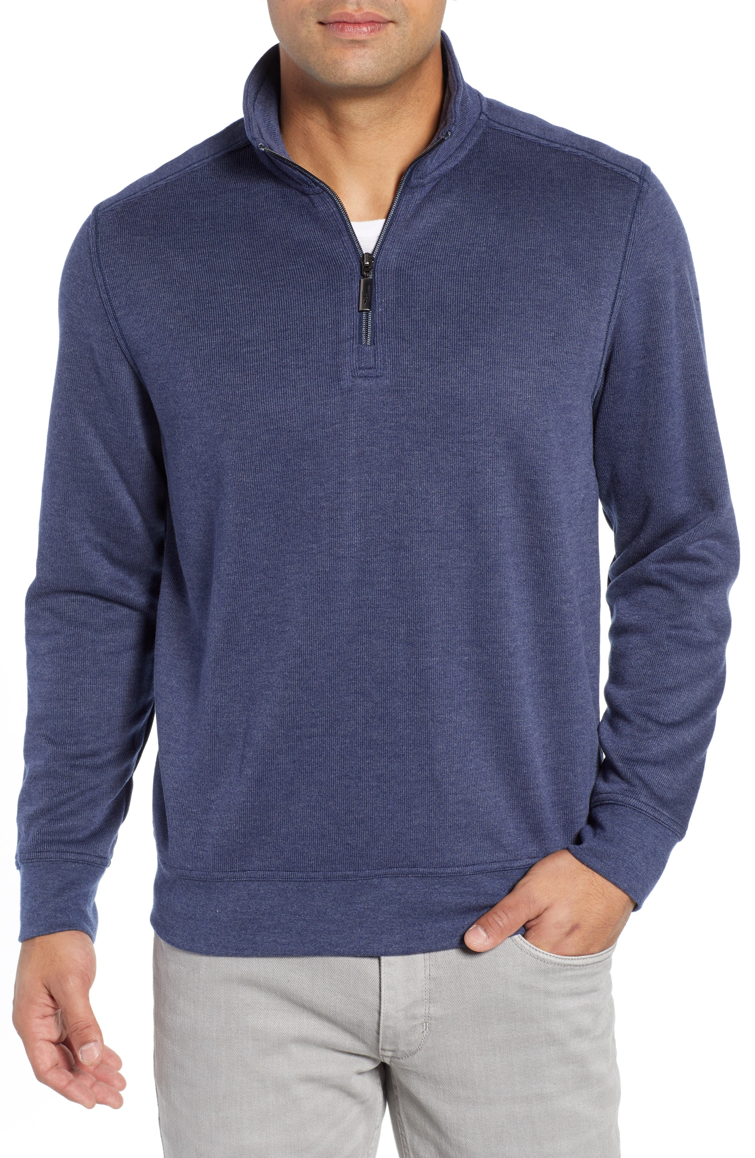 Sideline Quarter Zip Pullover,                             Main thumbnail 1, color,                             OCEAN DEEP