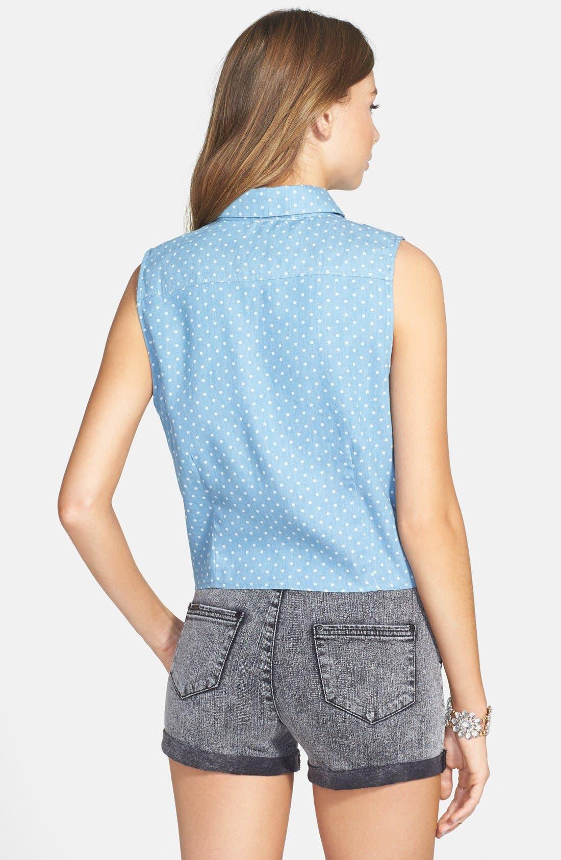 Polka Dot Sleeveless Tie Waist Shirt,                             Alternate thumbnail 5, color,                             400