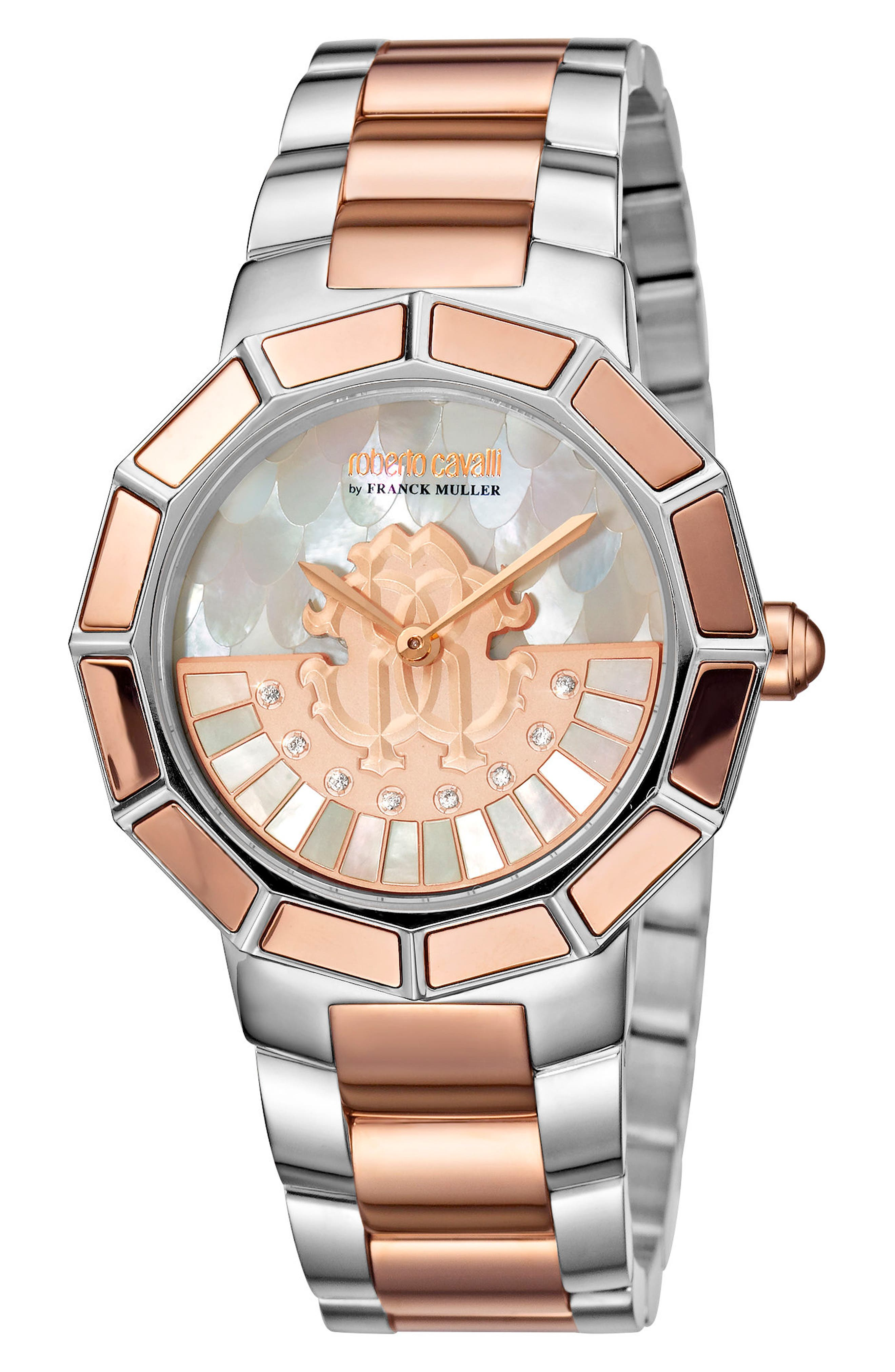 Rotating Dial Bracelet Watch, 37mm,                             Main thumbnail 1, color,                             SILVER/ WHITE MOP/ ROSE GOLD