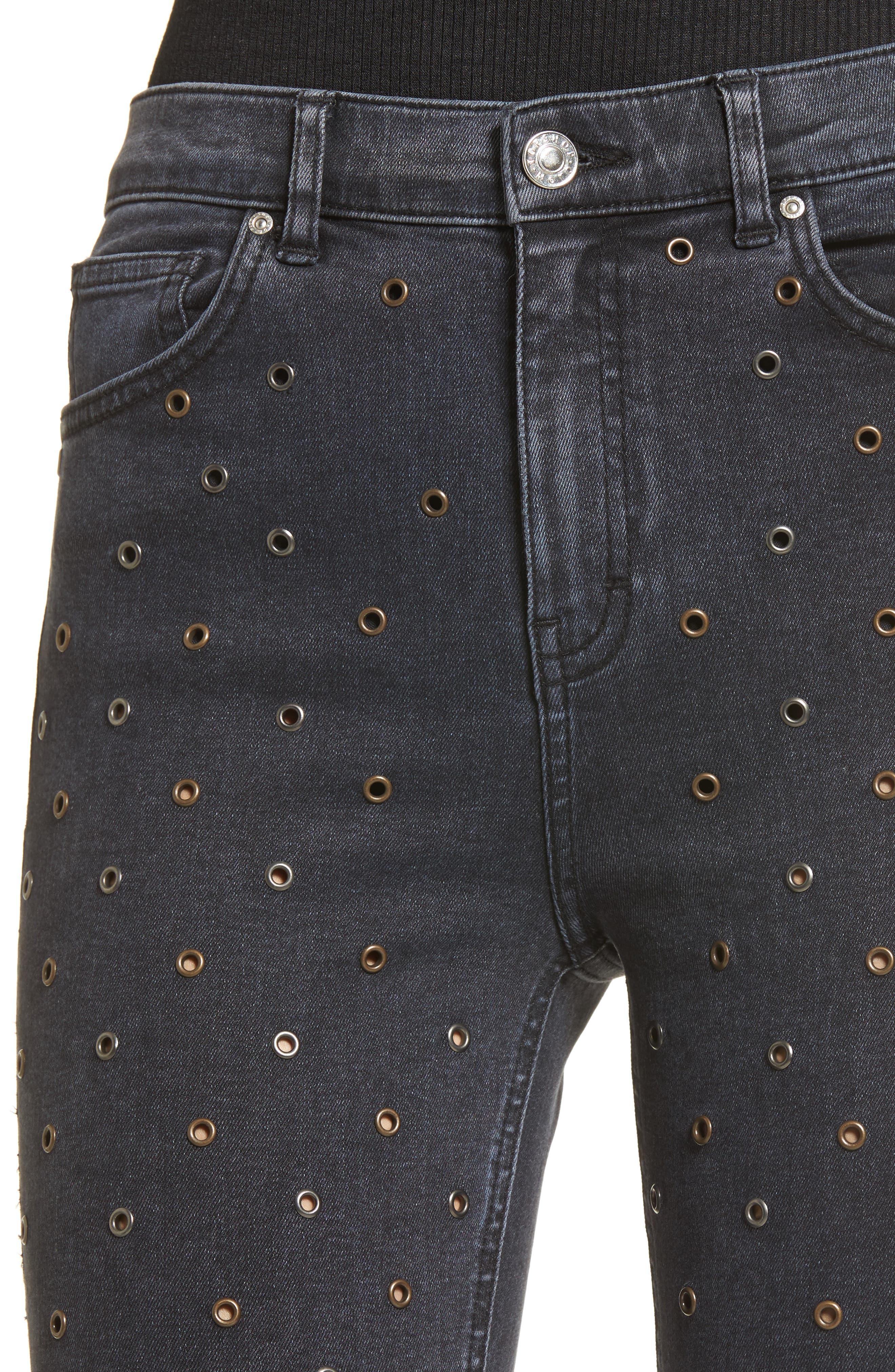 Jamie Grommet Ankle Skinny Jeans,                             Alternate thumbnail 4, color,                             001