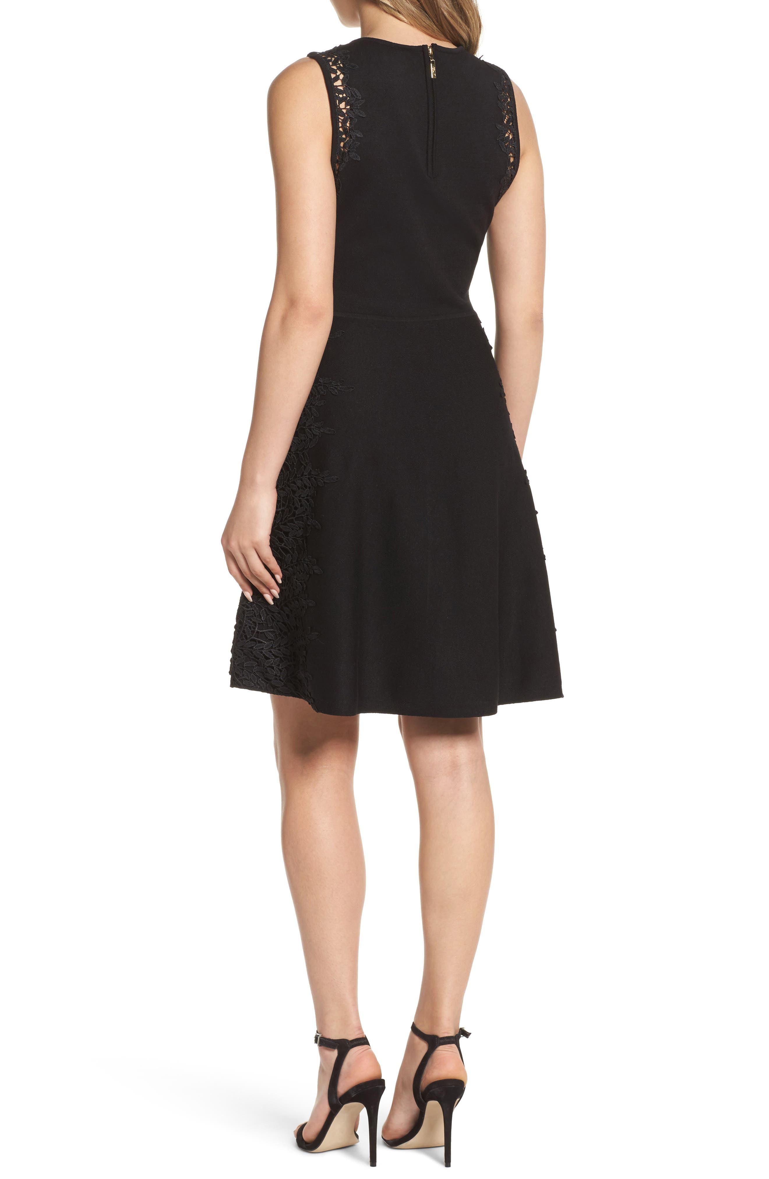 Lace Inset Fit & Flare Dress,                             Alternate thumbnail 2, color,                             001