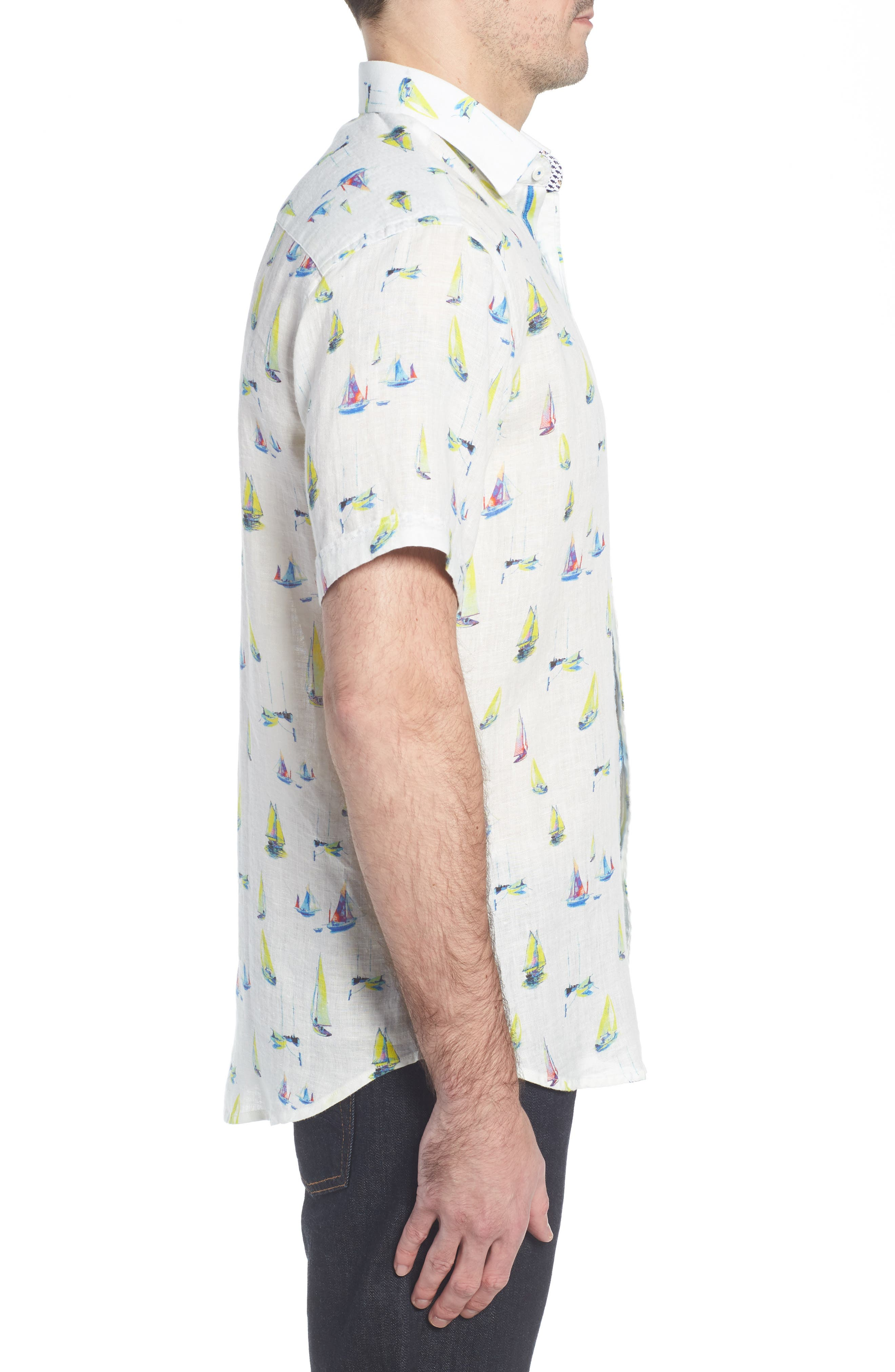 Shaped Fit Sailboat Linen Sport Shirt,                             Alternate thumbnail 3, color,                             102