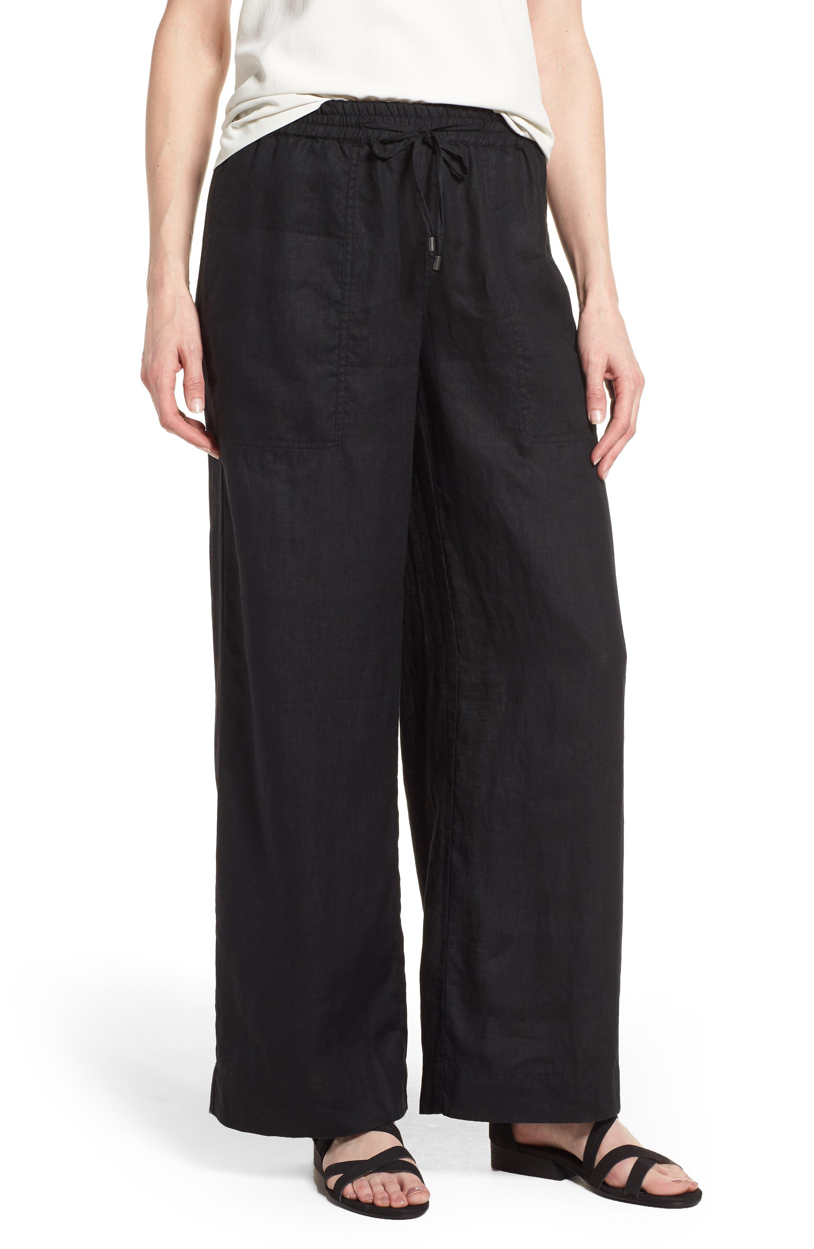 Wide Leg Organic Linen Pants,                             Main thumbnail 1, color,                             001