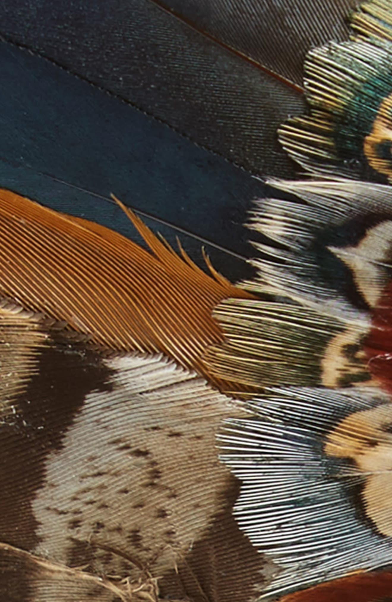 Pollock Feather Bow Tie,                             Alternate thumbnail 2, color,                             BLUE/ BROWN