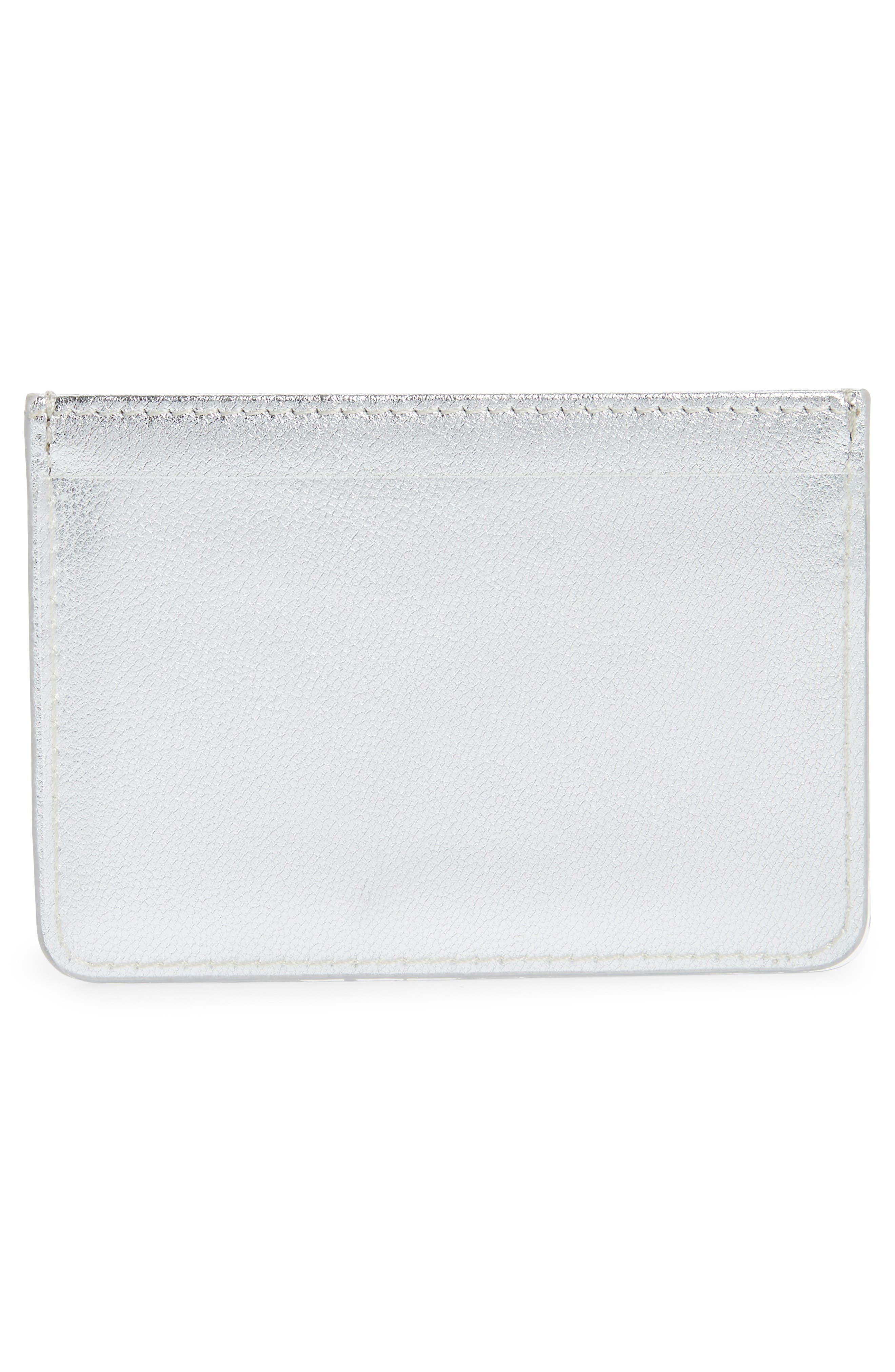 Privacy Leather Card Case,                             Alternate thumbnail 3, color,                             SILVER