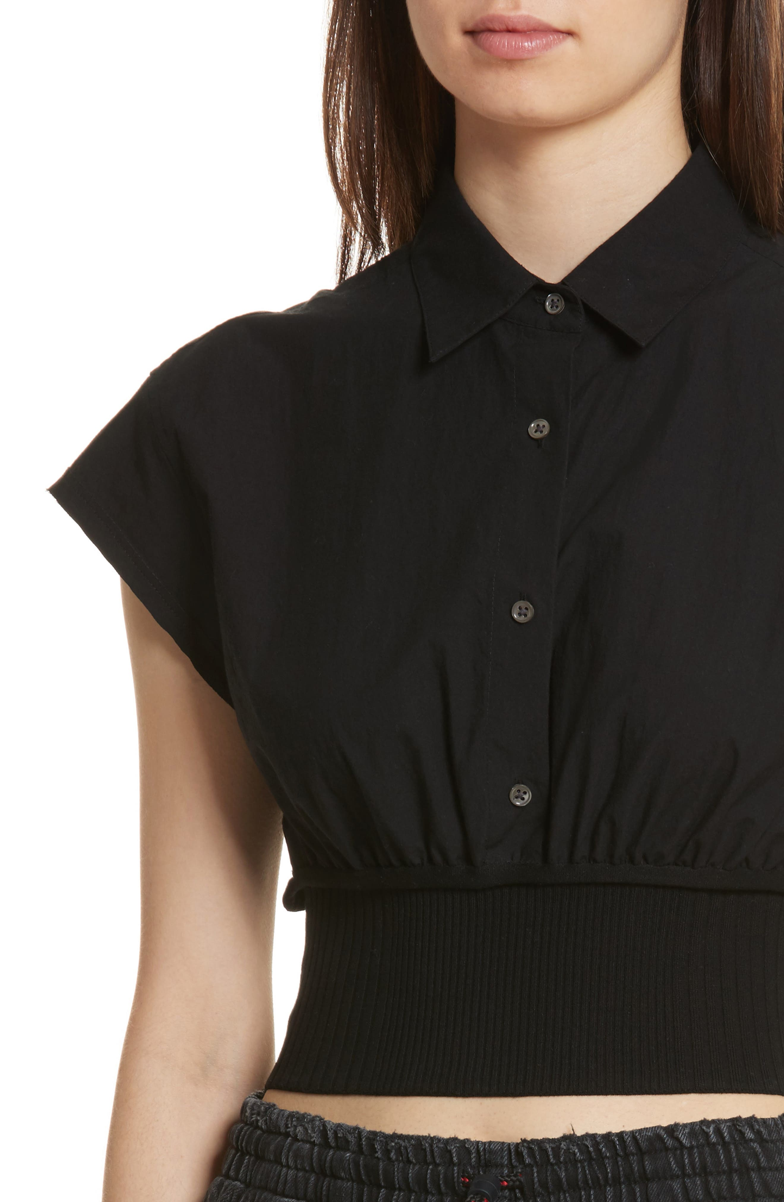 T by Alexander Wang Washed Cotton Poplin Crop Top,                             Alternate thumbnail 4, color,                             001