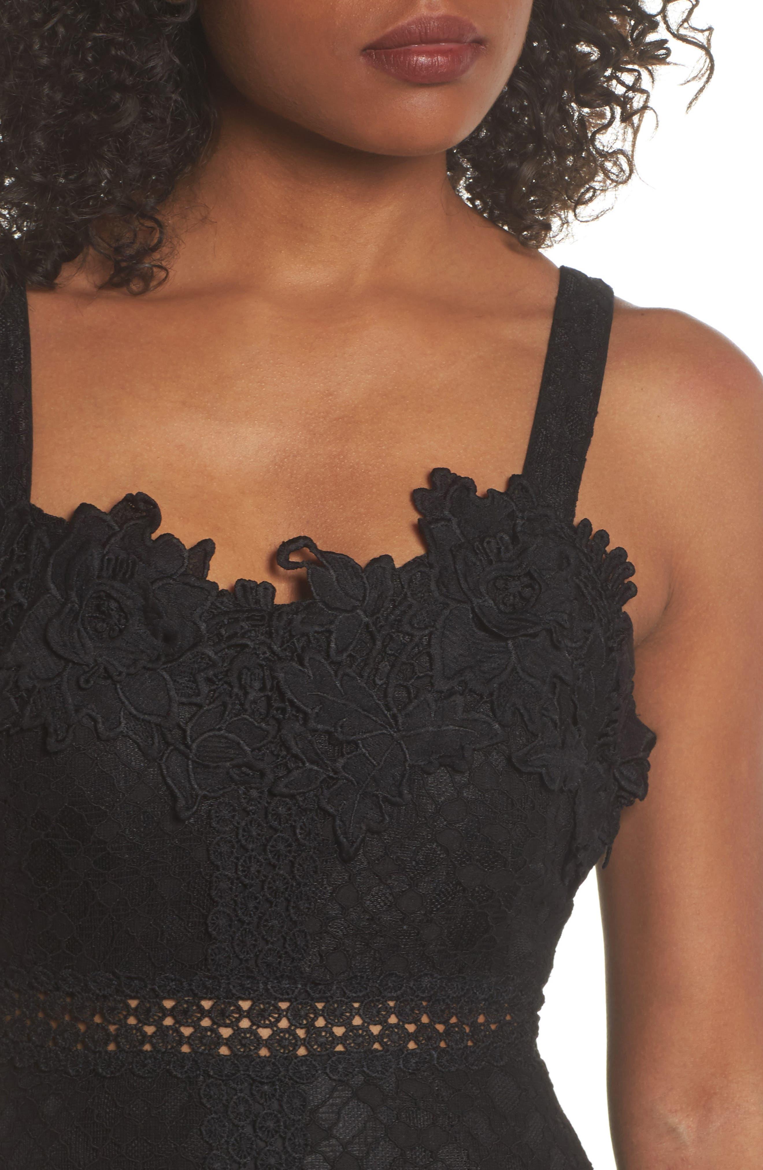 Angelisa Lace Midi Dress,                             Alternate thumbnail 4, color,                             BLACK