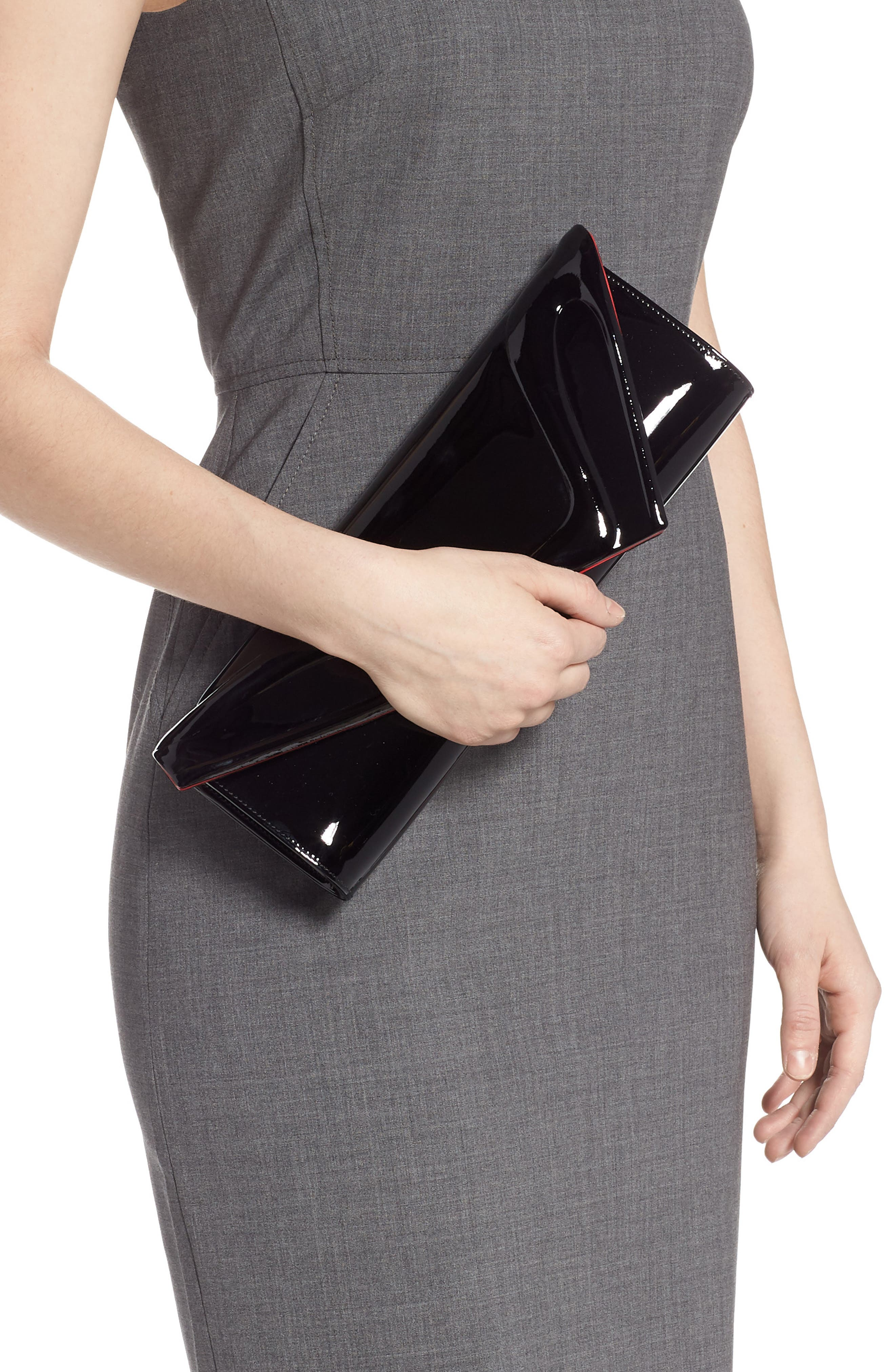 So Kate Patent Leather Clutch,                             Alternate thumbnail 2, color,                             BLACK
