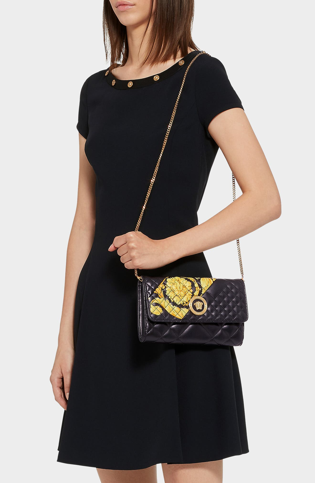 Baroque Icon Quilted Leather Crossbody Bag,                             Alternate thumbnail 2, color,                             BLACK MULTI/ TRIBUTE GOLD